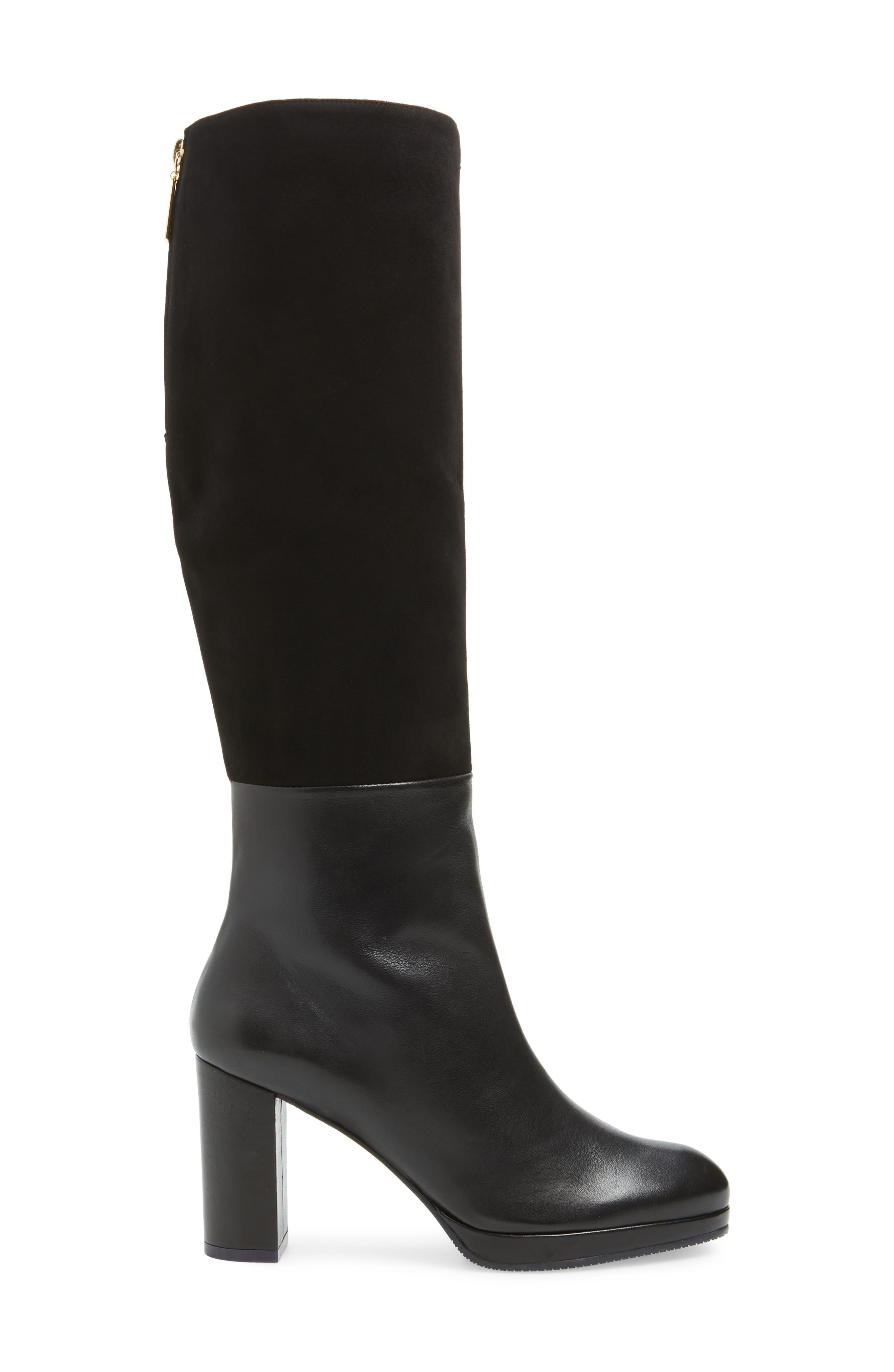 Marcella Knee High Boot,                             Alternate thumbnail 3, color,                             BLACK DOVER