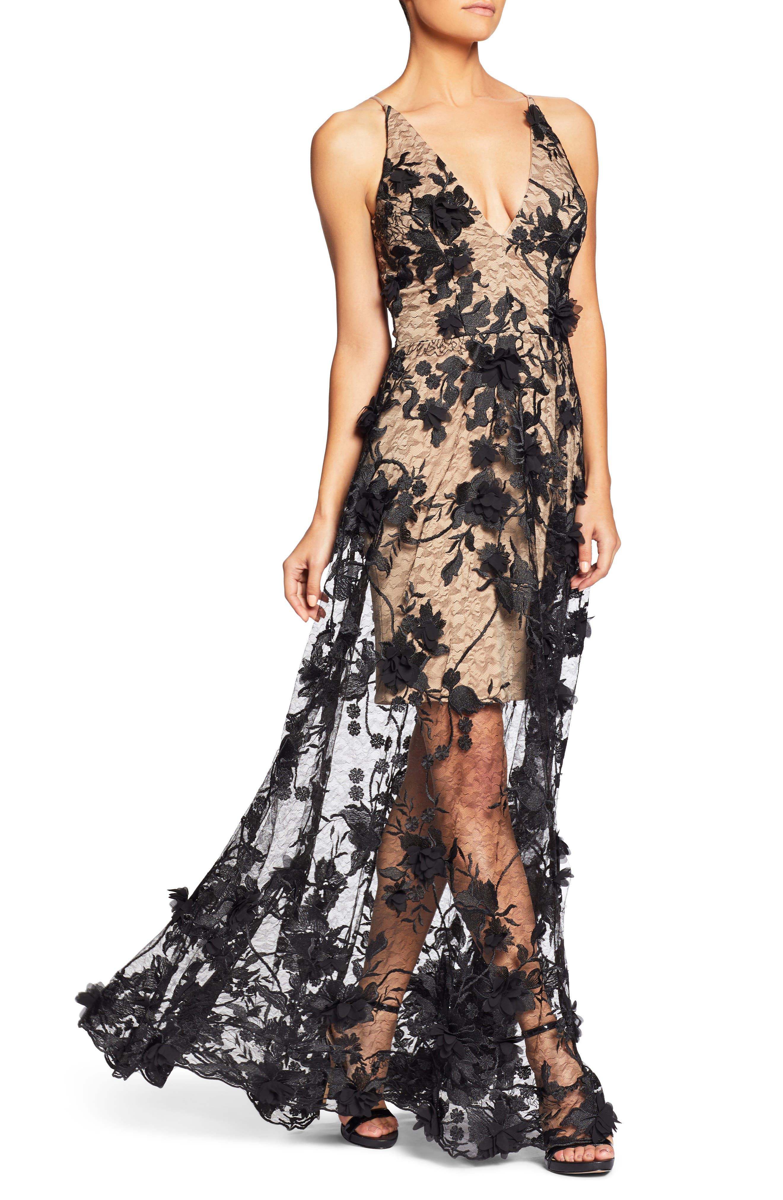 Sidney Deep V-Neck 3D Lace Gown,                             Alternate thumbnail 7, color,