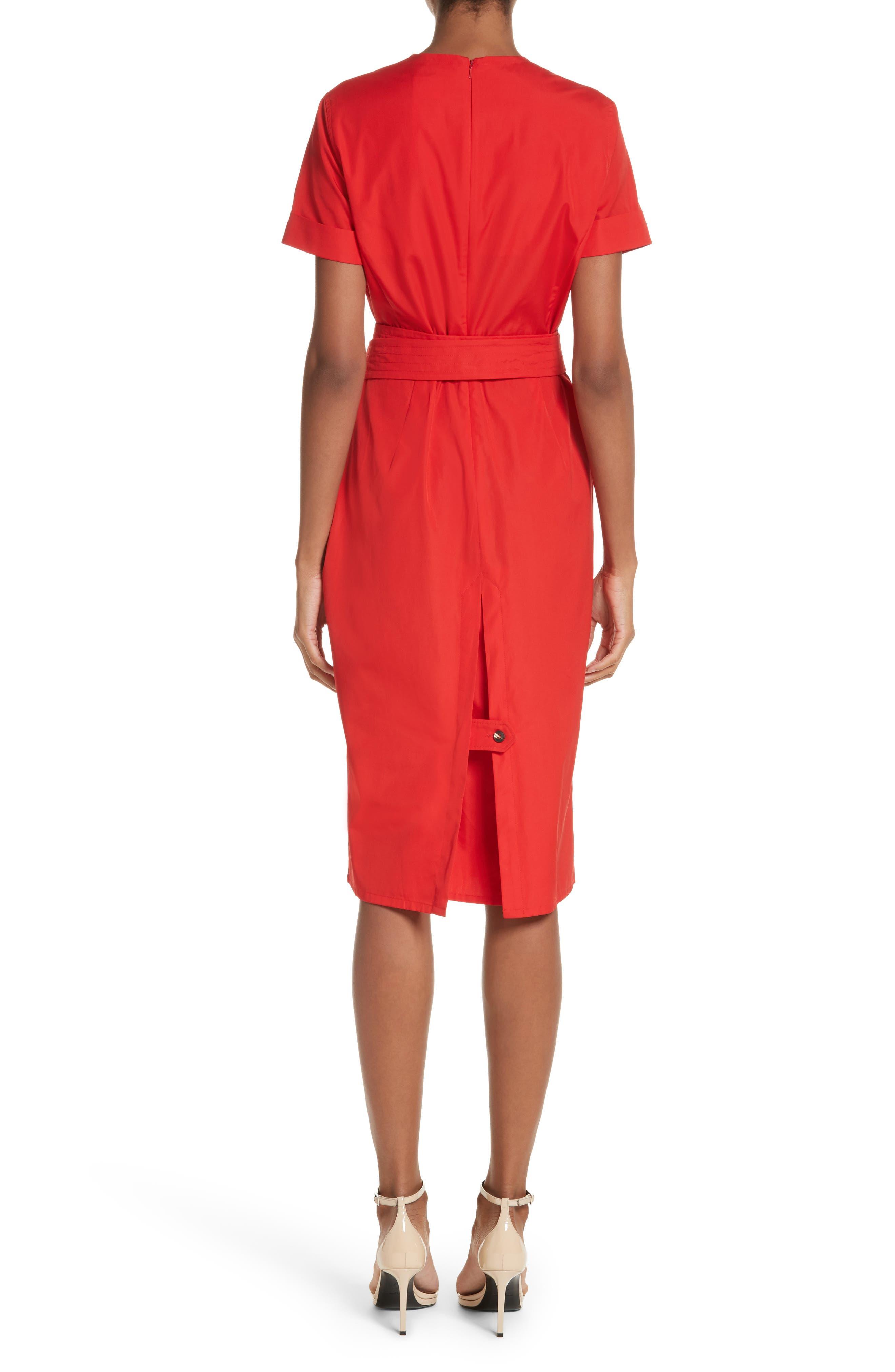 Dalmine Cotton Wrap Dress,                             Alternate thumbnail 2, color,                             RED