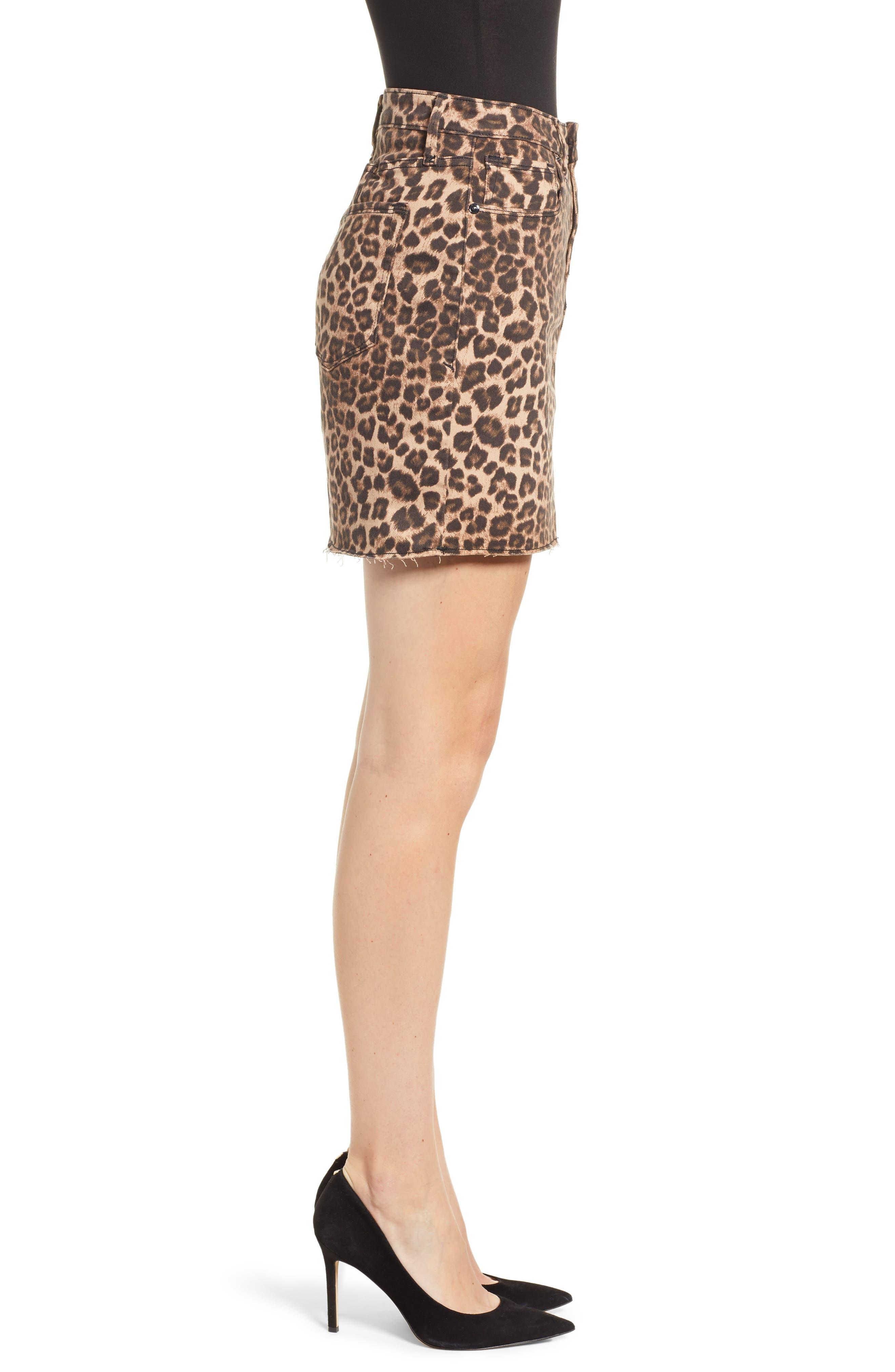 GOOD AMERICAN,                             Cheetah Print Raw Edge Miniskirt,                             Alternate thumbnail 3, color,                             CHEETAH001