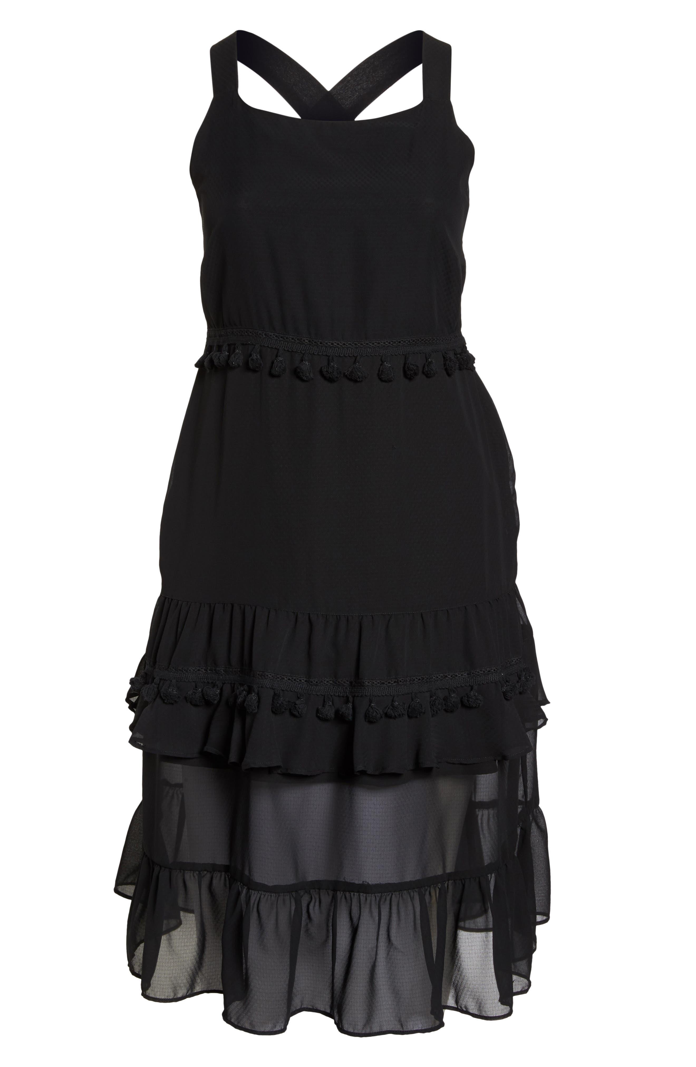 Tassel Trim Sheer Hem Dress,                             Alternate thumbnail 6, color,                             001