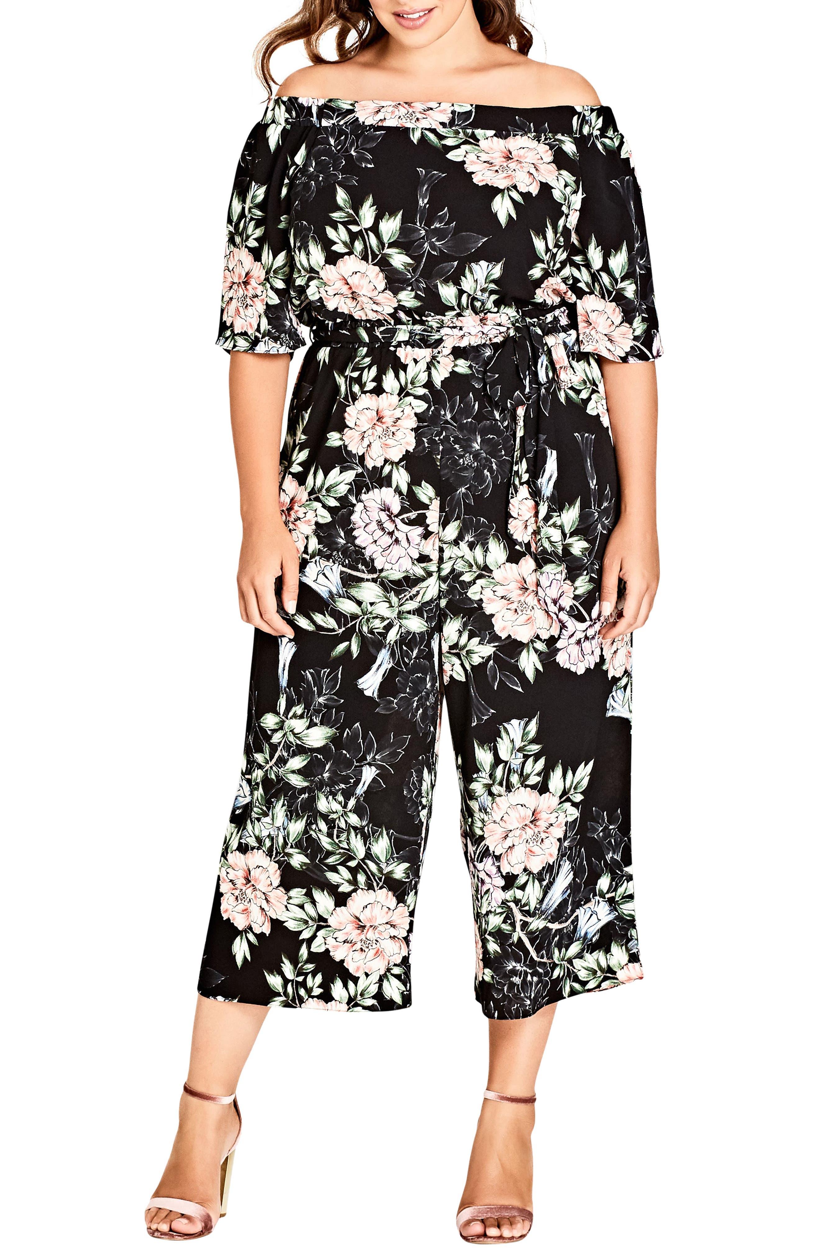 Plus Size Women's City Chic Blossoms Off-Shoulder Jumpsuit, Size Small - Black
