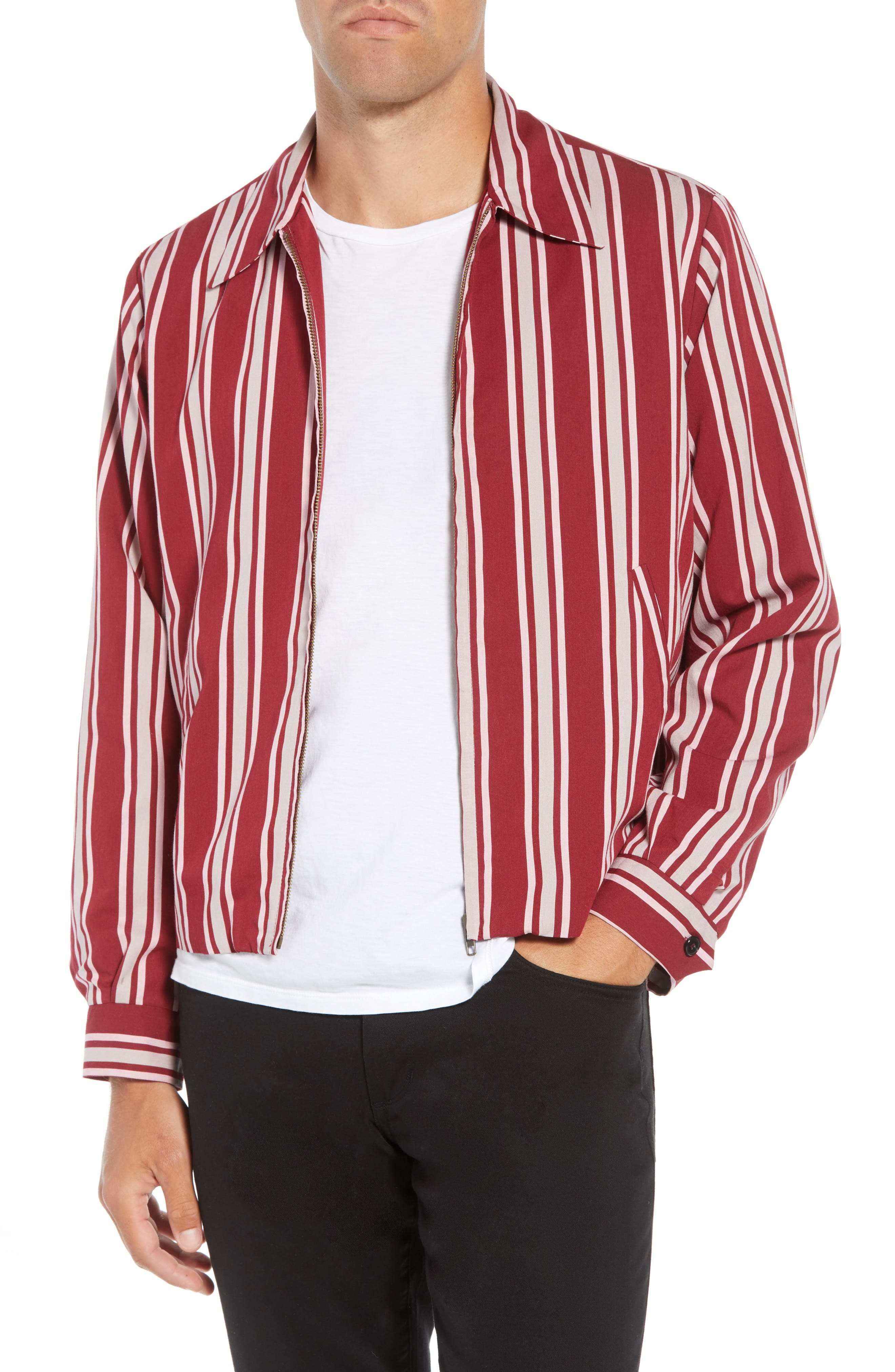 Fifty Regular Fit Shirt Jacket,                             Main thumbnail 1, color,                             RED STRIPE