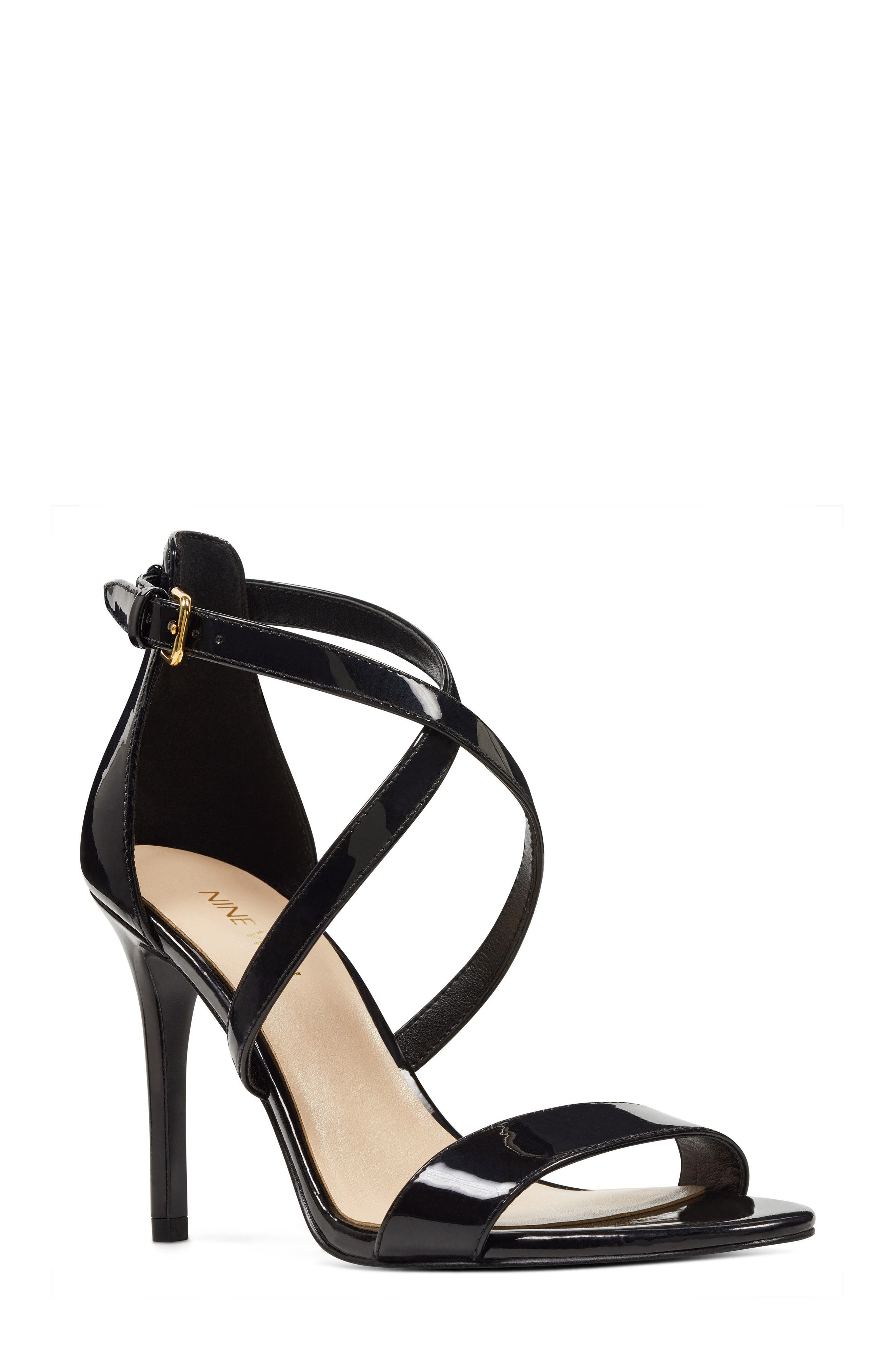 Mydebut Strappy Sandal,                             Main thumbnail 1, color,                             BLACK FAUX LEATHER