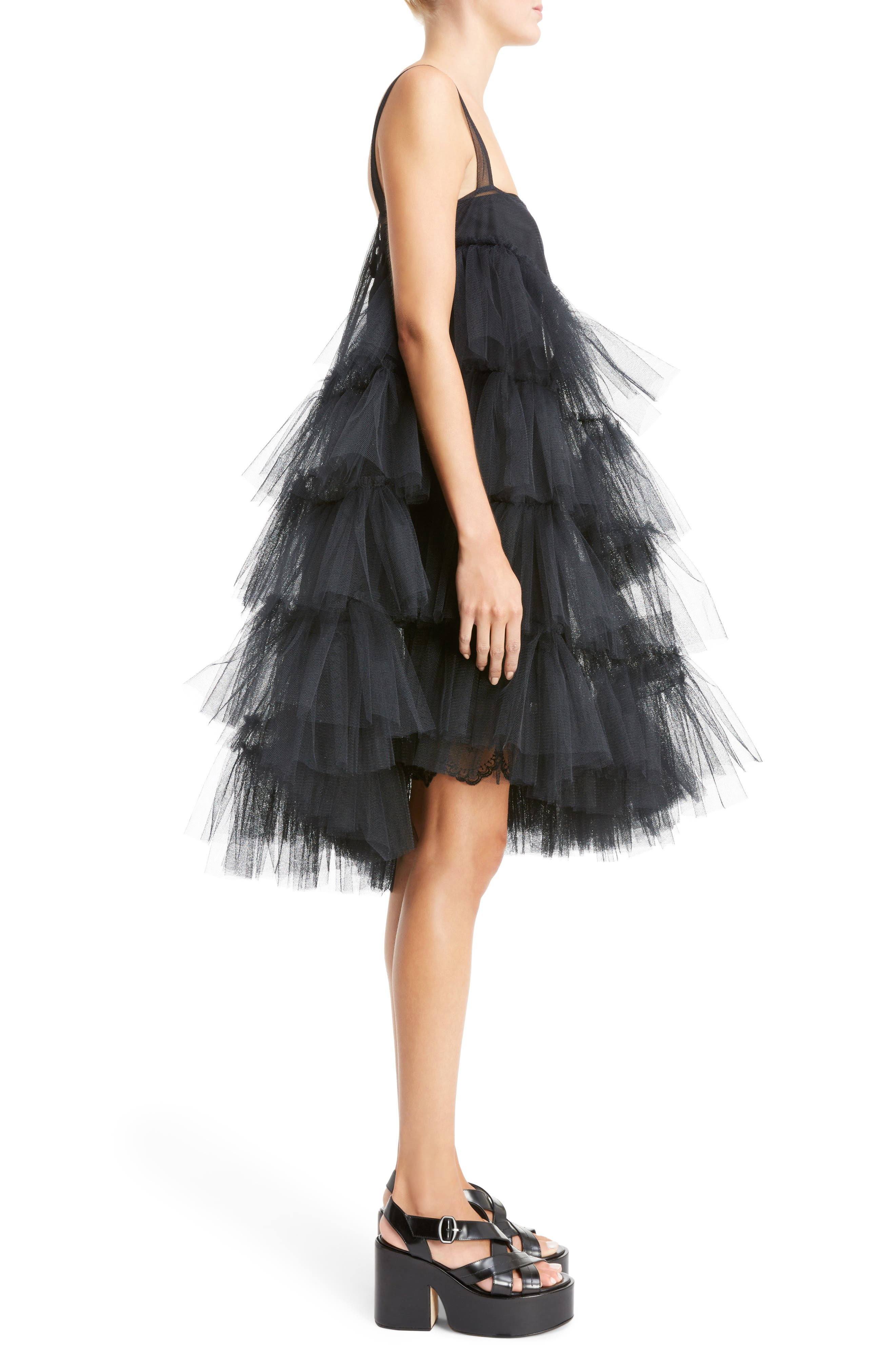 Turbo Tiered Tulle Dress,                             Alternate thumbnail 3, color,                             001