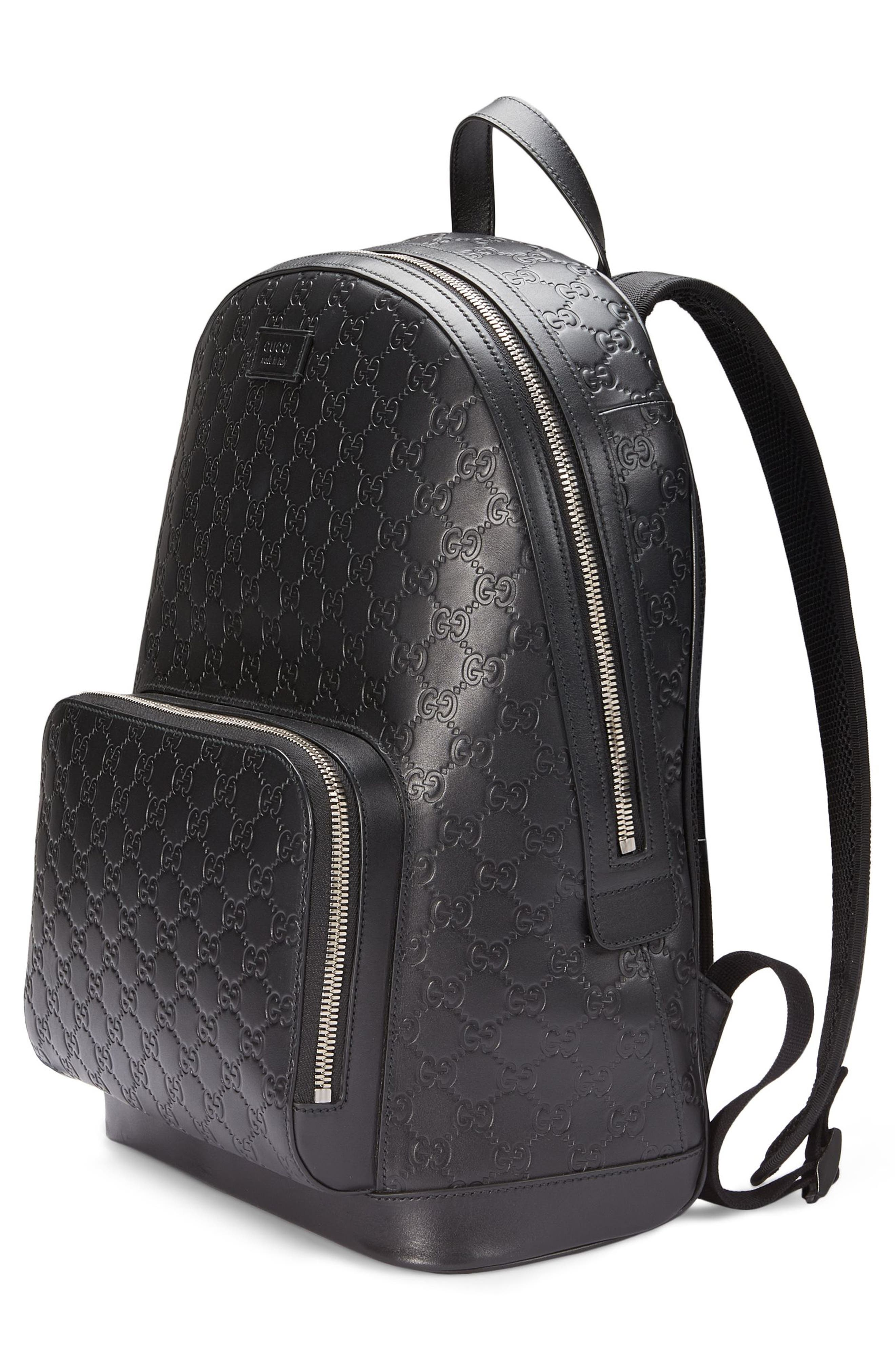 Embossed Leather Backpack,                             Alternate thumbnail 6, color,                             BLACK