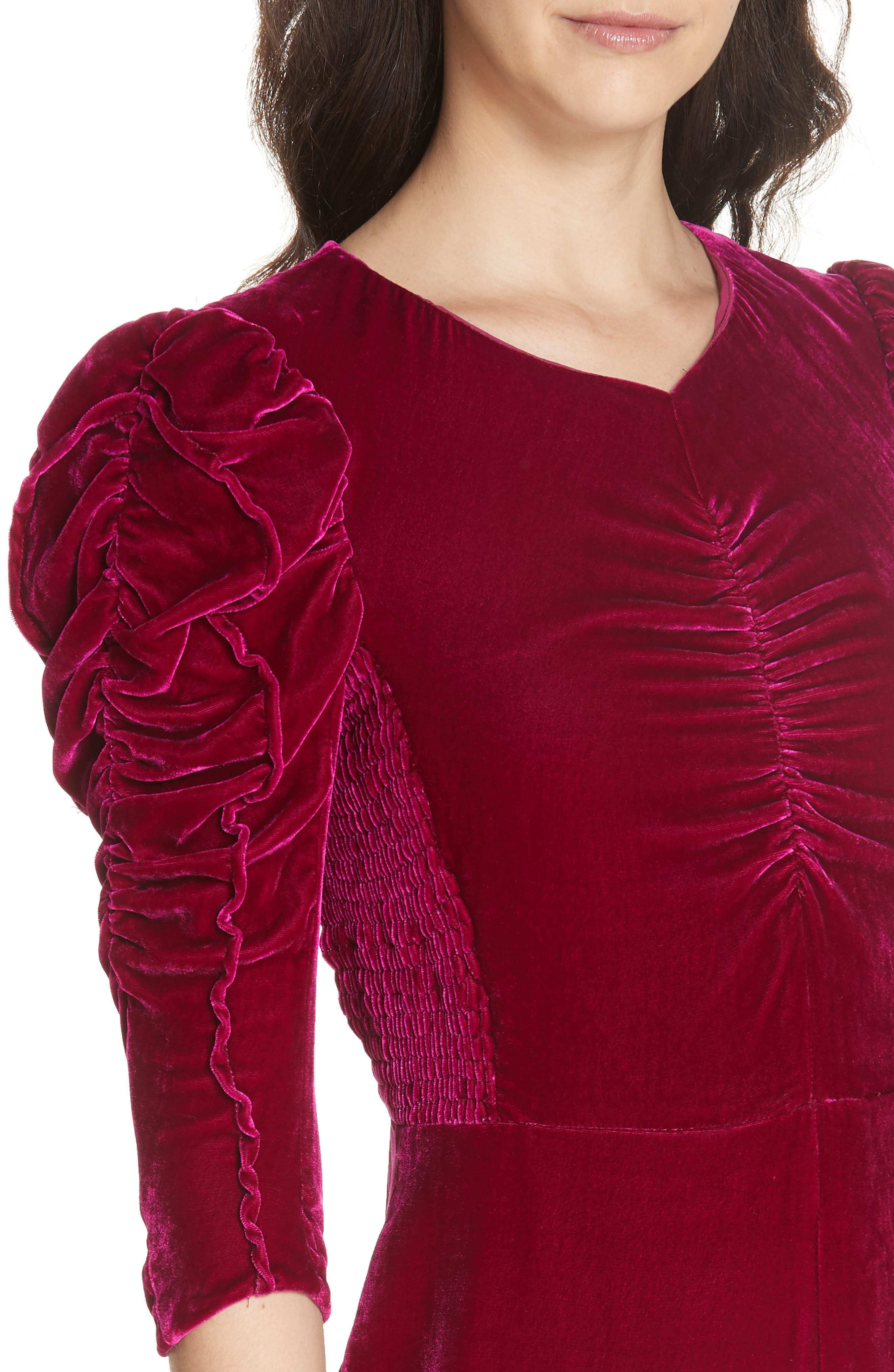 Ruched Velvet Dress,                             Alternate thumbnail 4, color,                             CRANBERRY