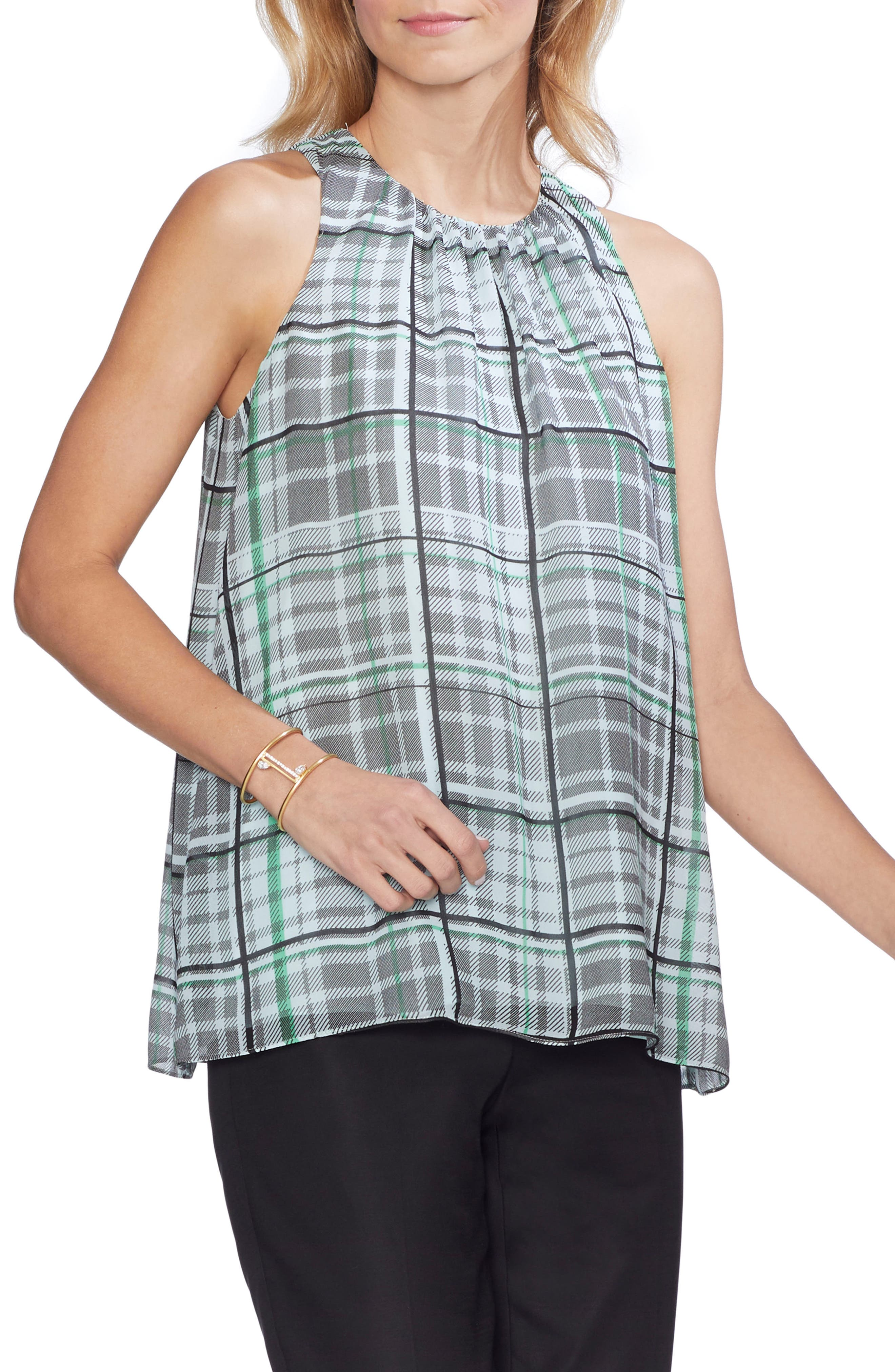 Plaid Shades Sleeveless Blouse in Light Seaglass