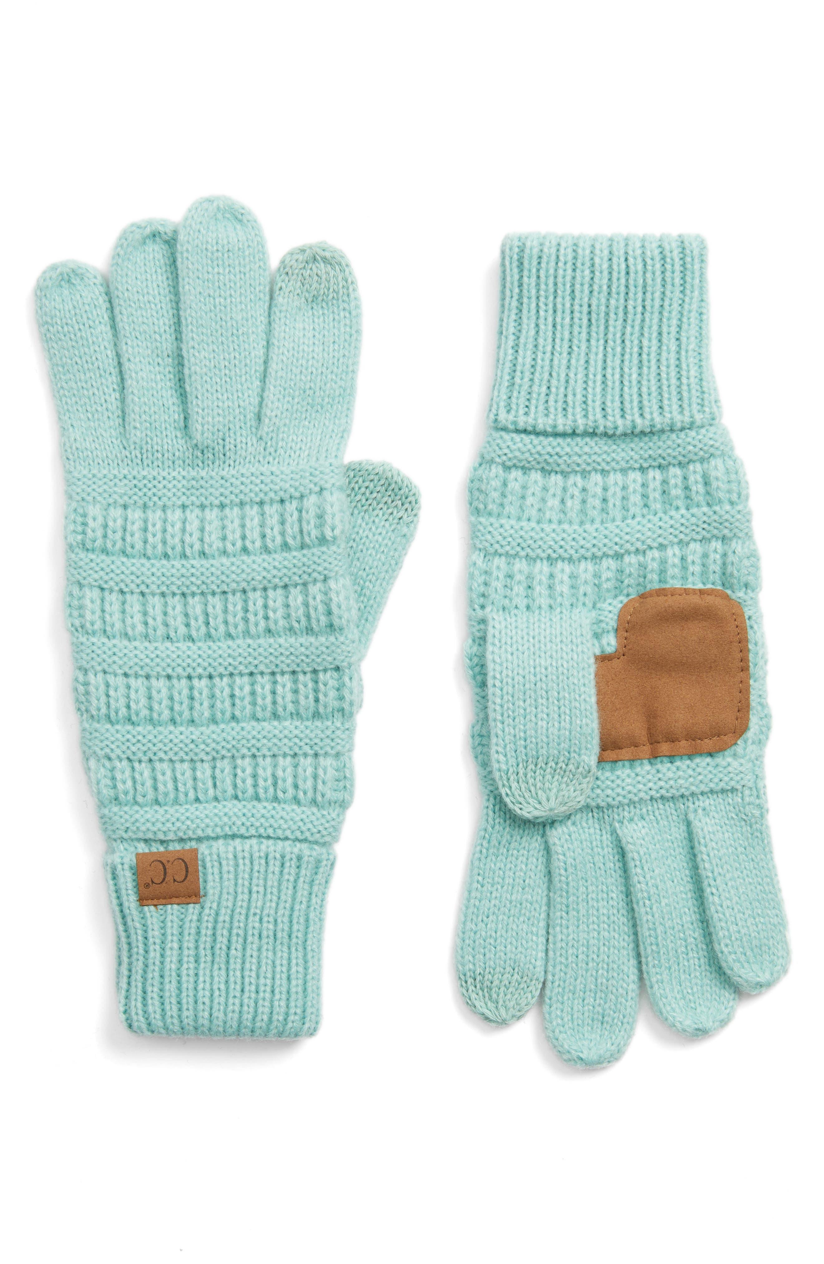 Rib Knit Tech Gloves,                             Main thumbnail 2, color,
