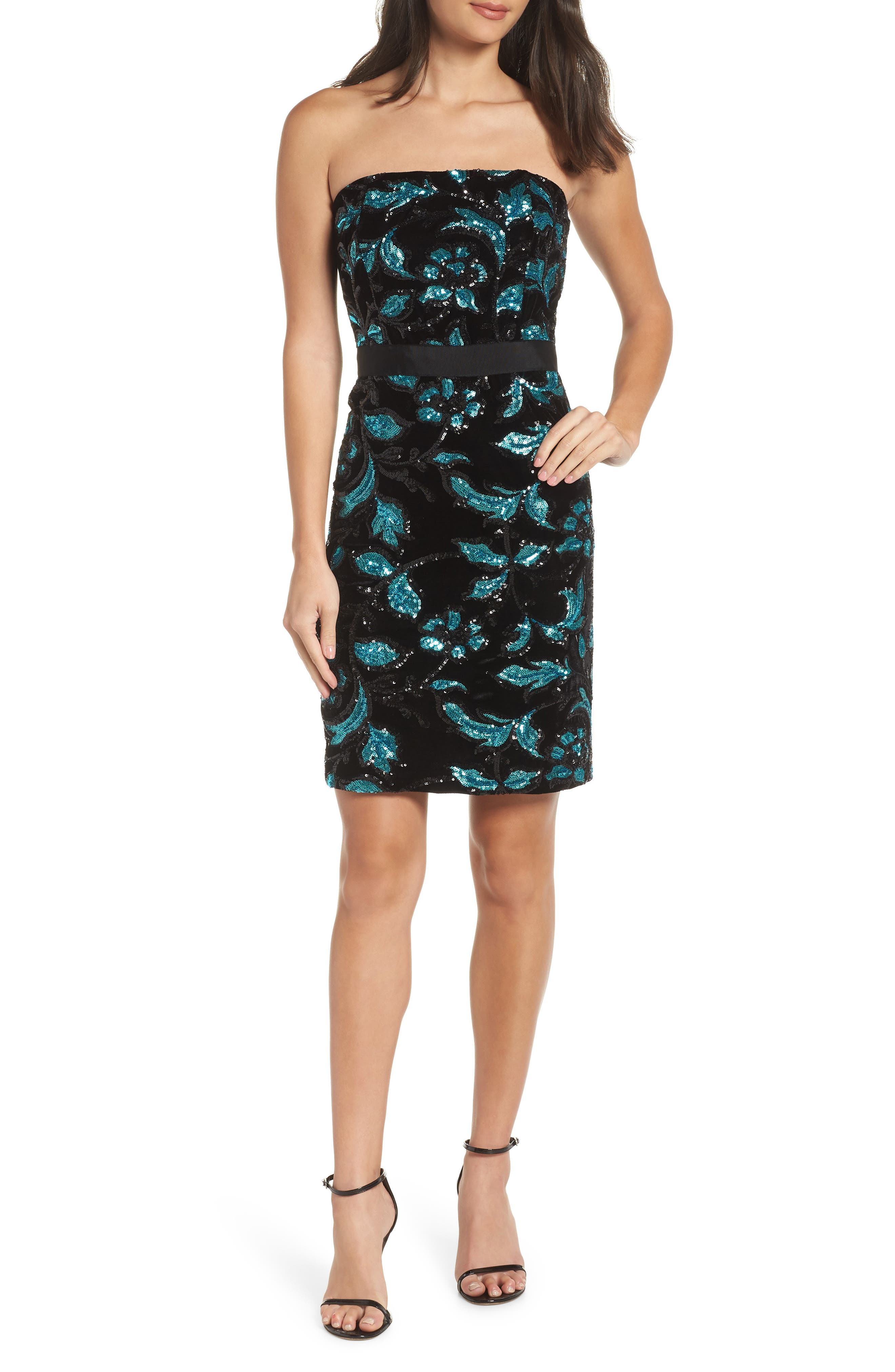 Strapless Sequin Velvet Sheath Dress,                             Main thumbnail 1, color,                             BLACK/ TEAL