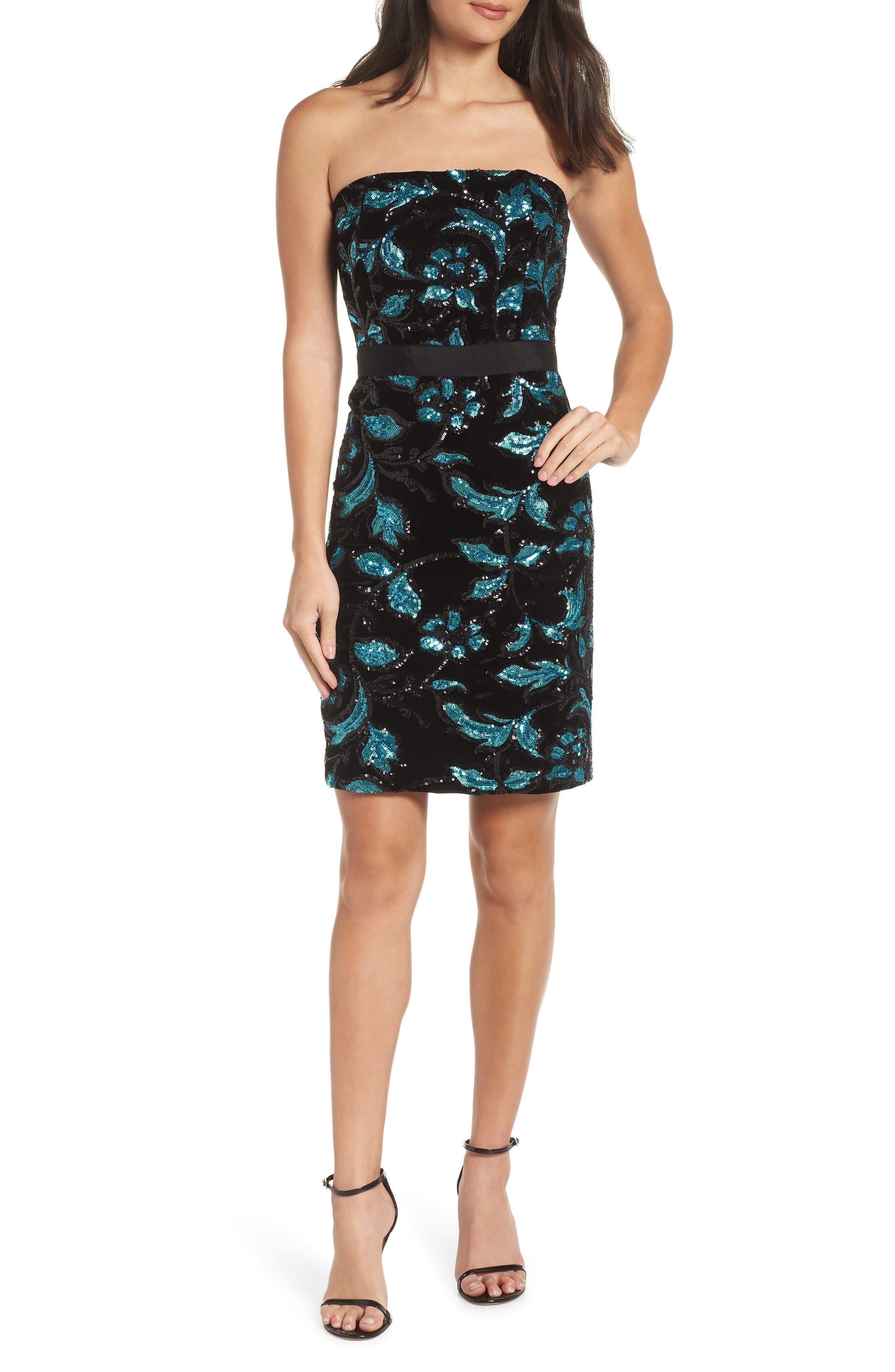 Strapless Sequin Velvet Sheath Dress,                         Main,                         color, BLACK/ TEAL