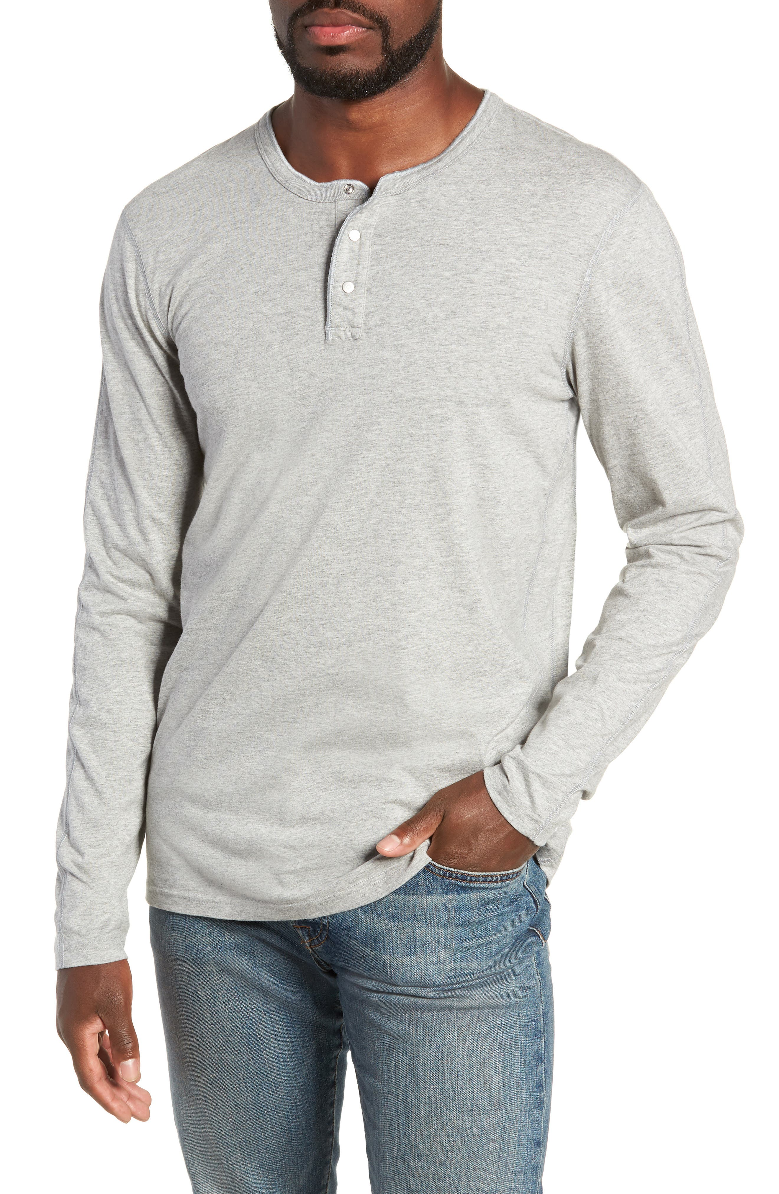 REIGNING CHAMP Long Sleeve Henley T-Shirt in Heather Grey