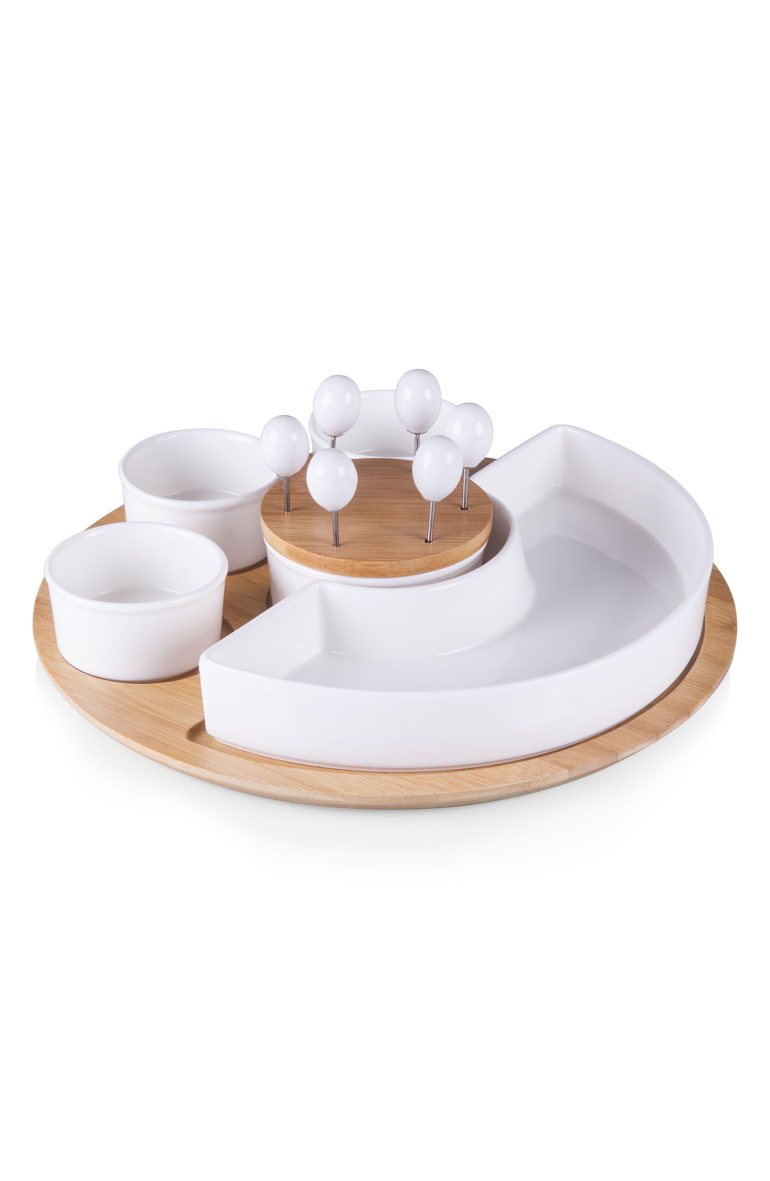 Symphony Appetizer Bowl Serving Set,                             Main thumbnail 1, color,                             BROWN/ WHITE