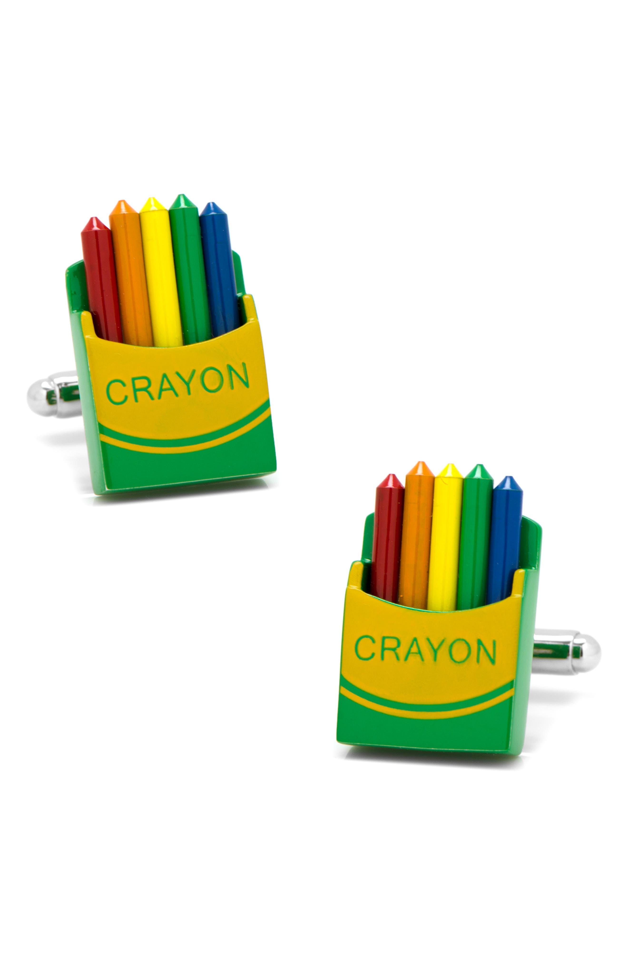 Crayon Box Cuff Links,                             Main thumbnail 1, color,                             YELLOW