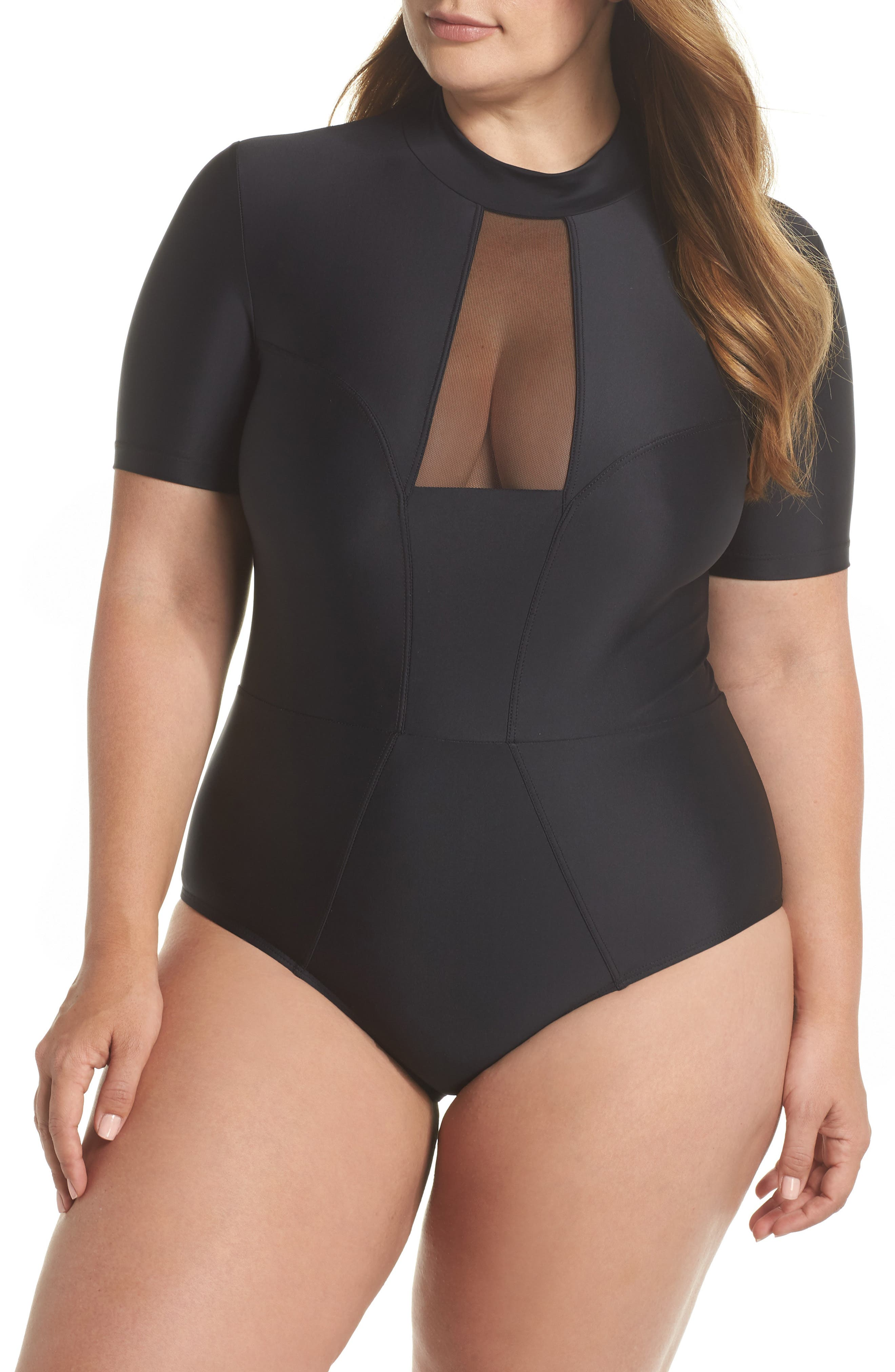 Tidal Back Zip One-Piece Swimsuit,                             Main thumbnail 1, color,                             001