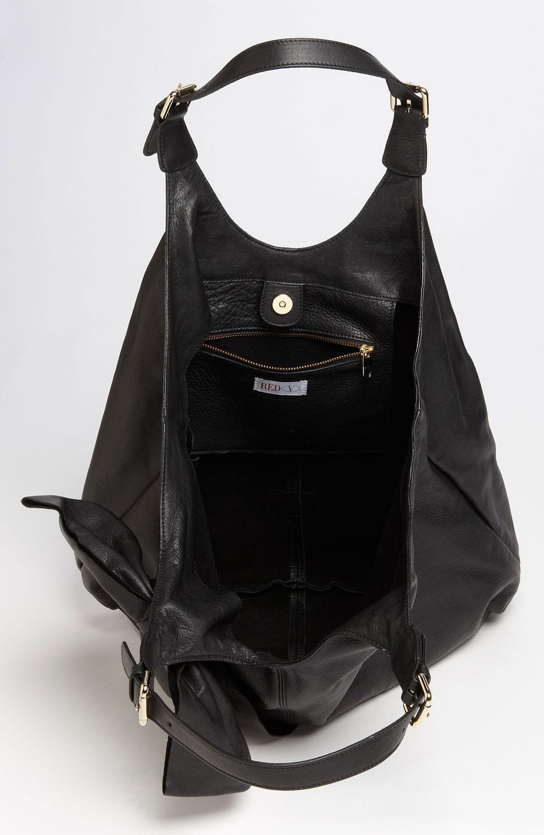 'Bow' Leather Hobo,                             Alternate thumbnail 2, color,                             002