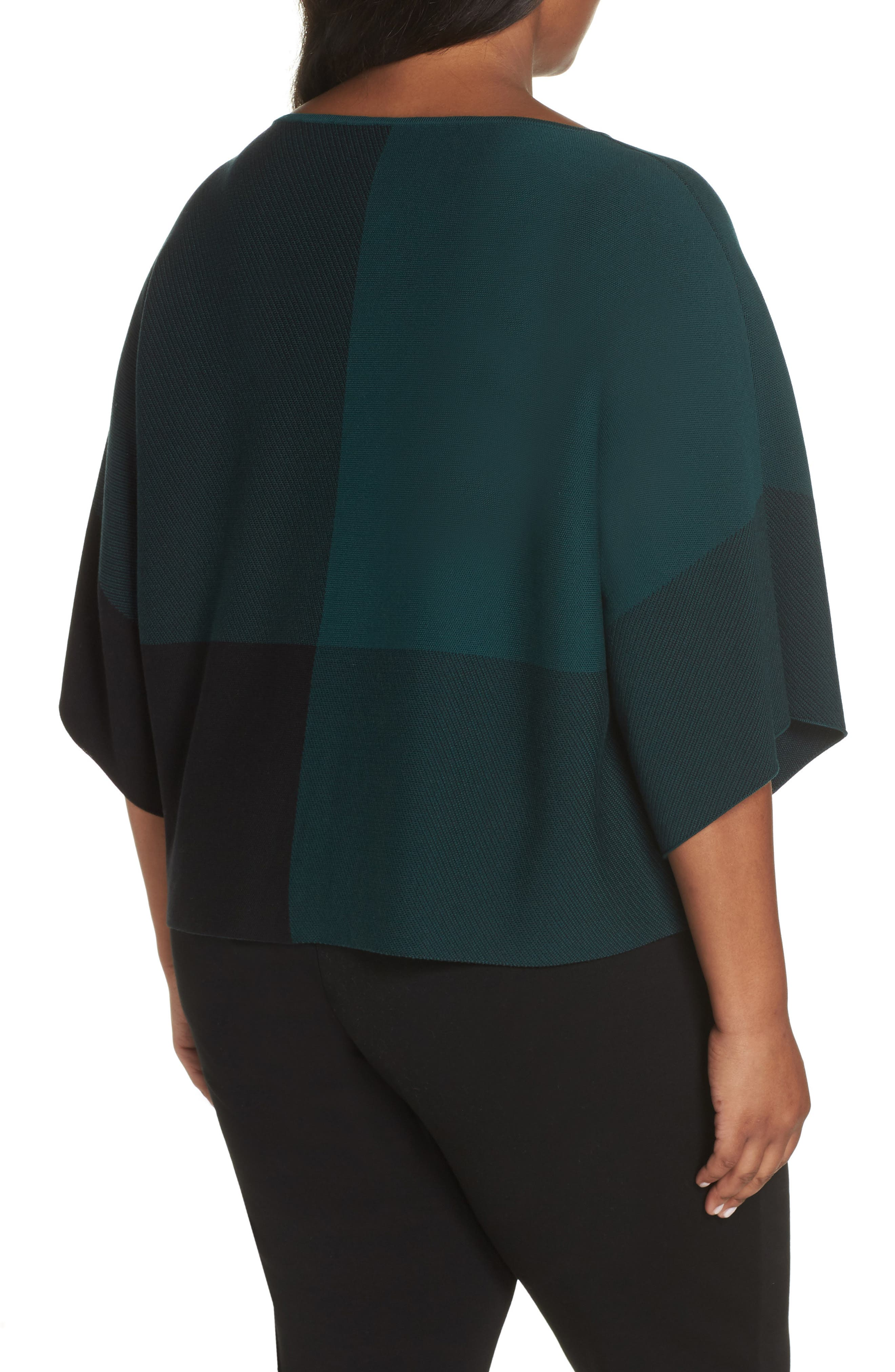 Colorblock Tencel<sup>®</sup> Lyocell Sweater,                             Alternate thumbnail 2, color,                             PINE