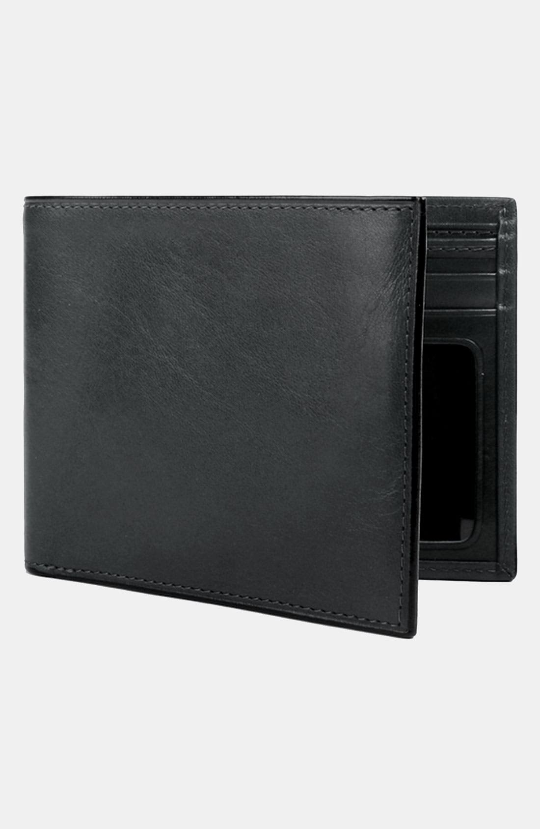 BOSCA,                             Leather Bifold Wallet,                             Main thumbnail 1, color,                             BLACK