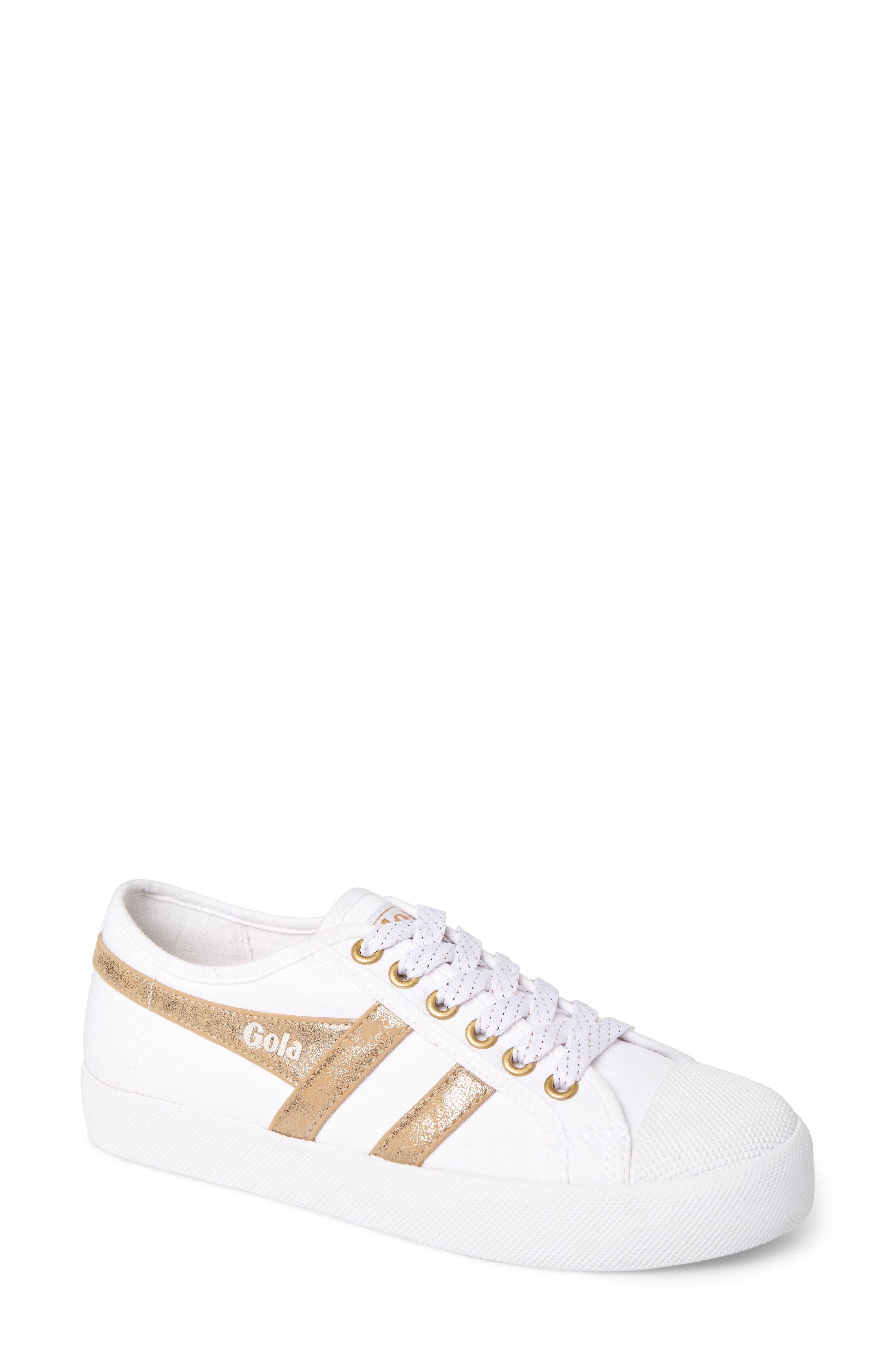 GOLA Coaster Mirror Sneaker, Main, color, WHITE/ GOLD