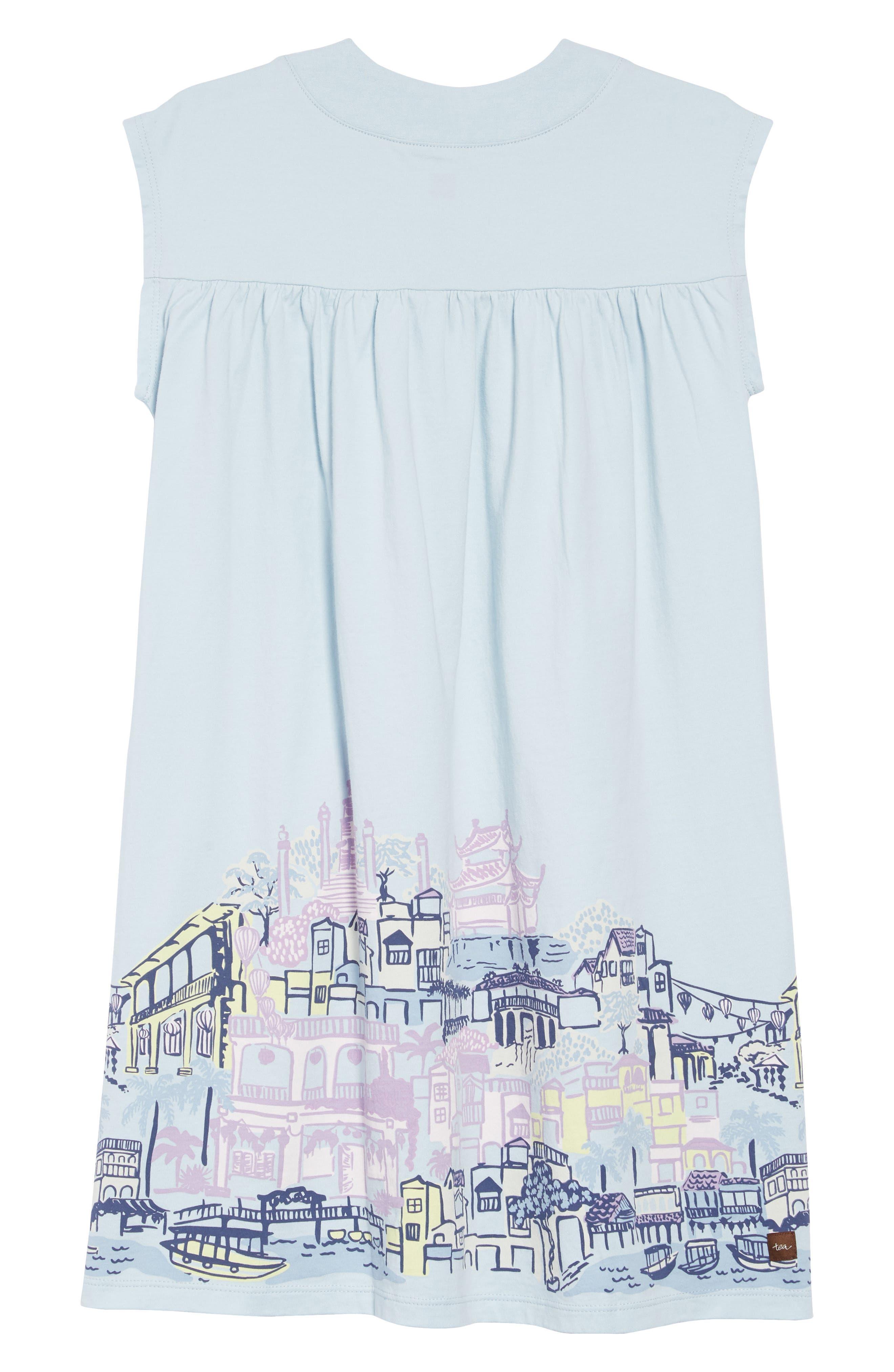 TEA COLLECTION,                             City Graphic Trapeze Dress,                             Alternate thumbnail 2, color,                             SKY