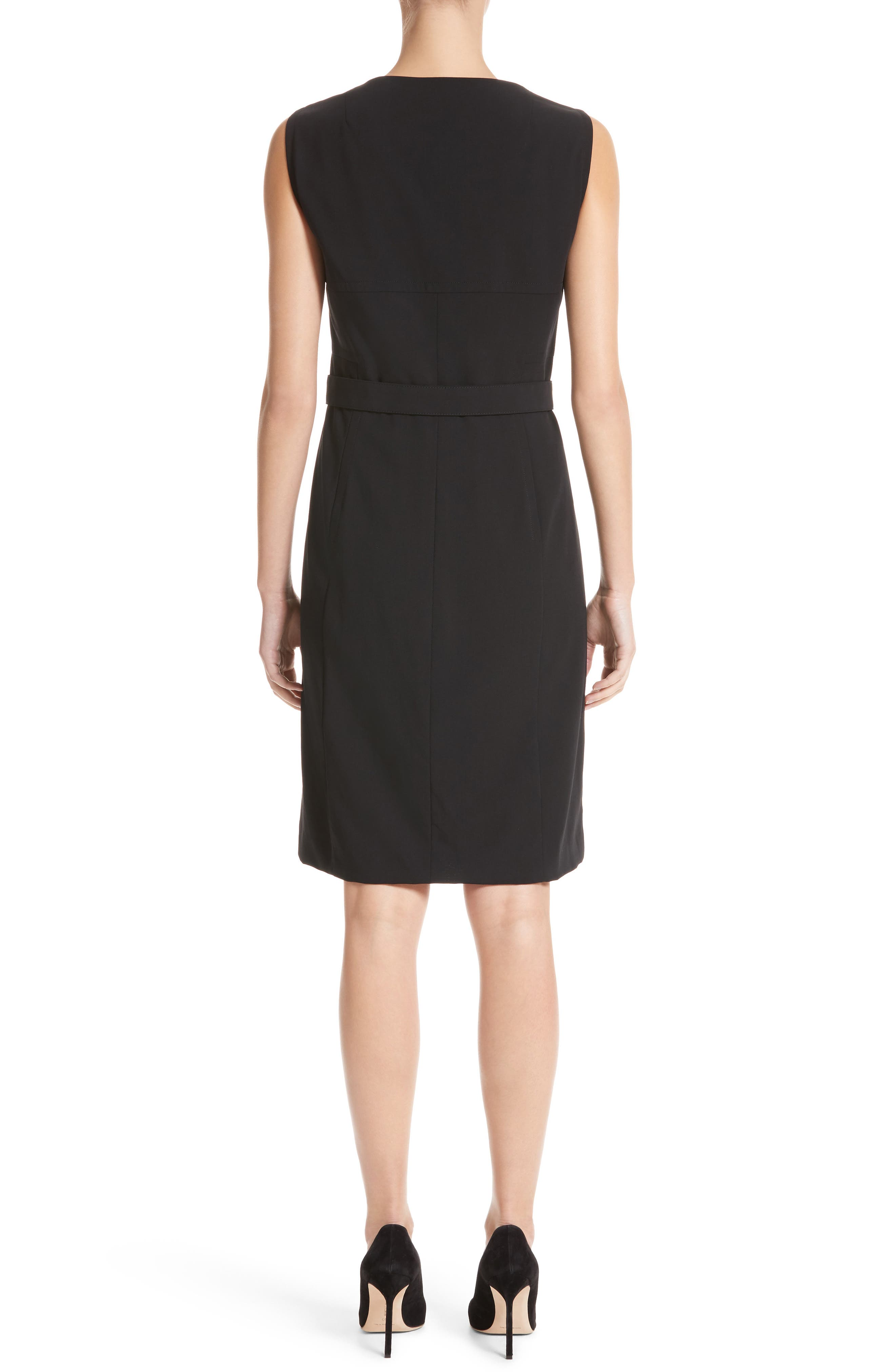 Belted Zip Front Wool Dress,                             Alternate thumbnail 2, color,                             001