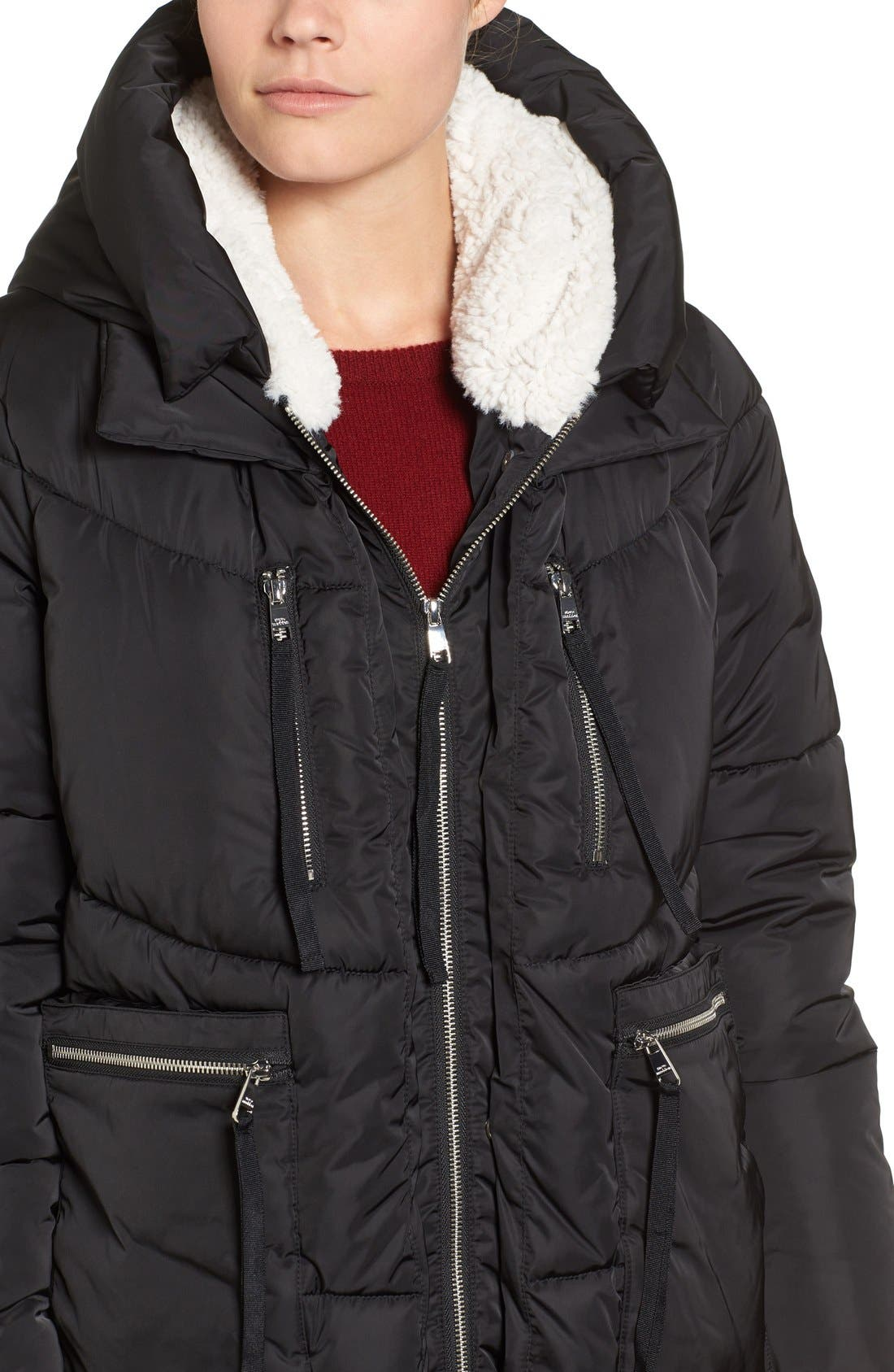 Hooded Puffer Jacket with Faux Shearling Trim,                             Alternate thumbnail 15, color,