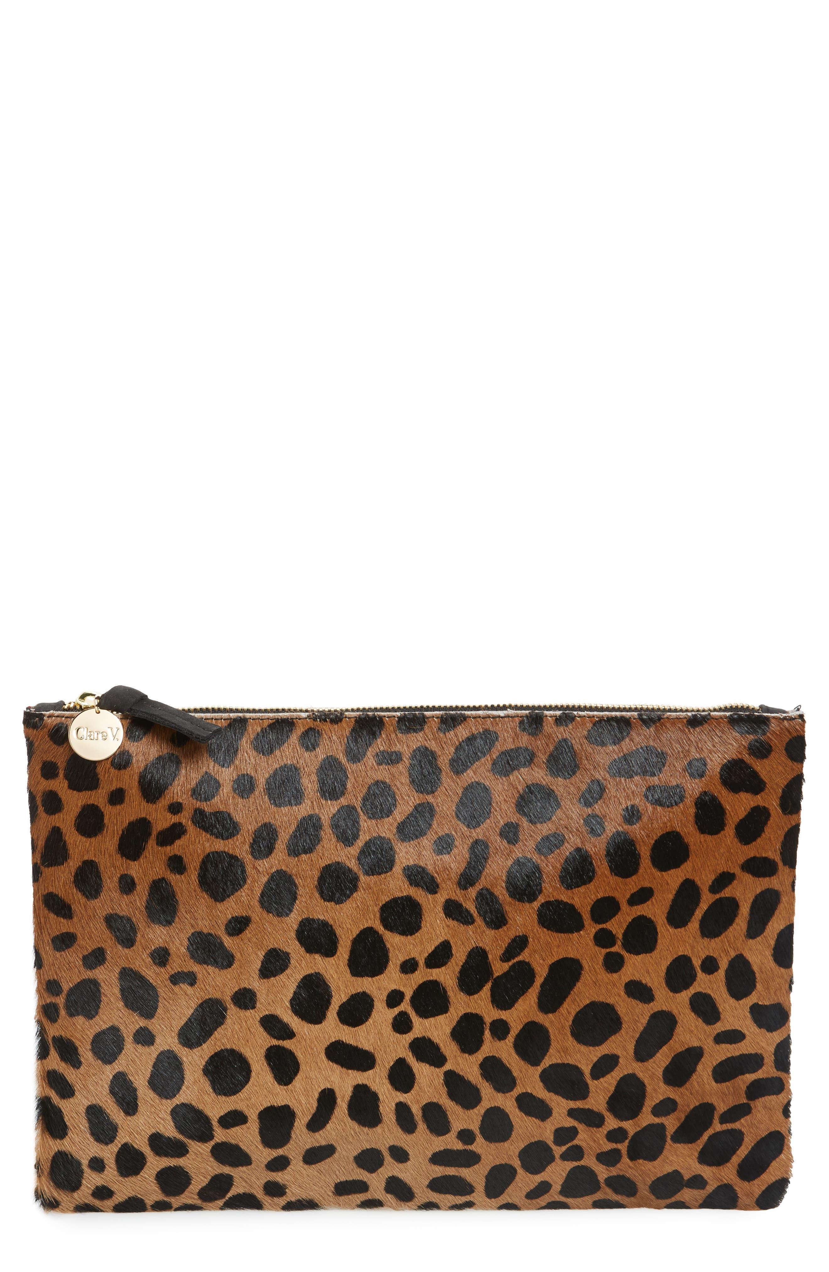 Leopard Print Genuine Calf Hair Clutch,                             Main thumbnail 1, color,