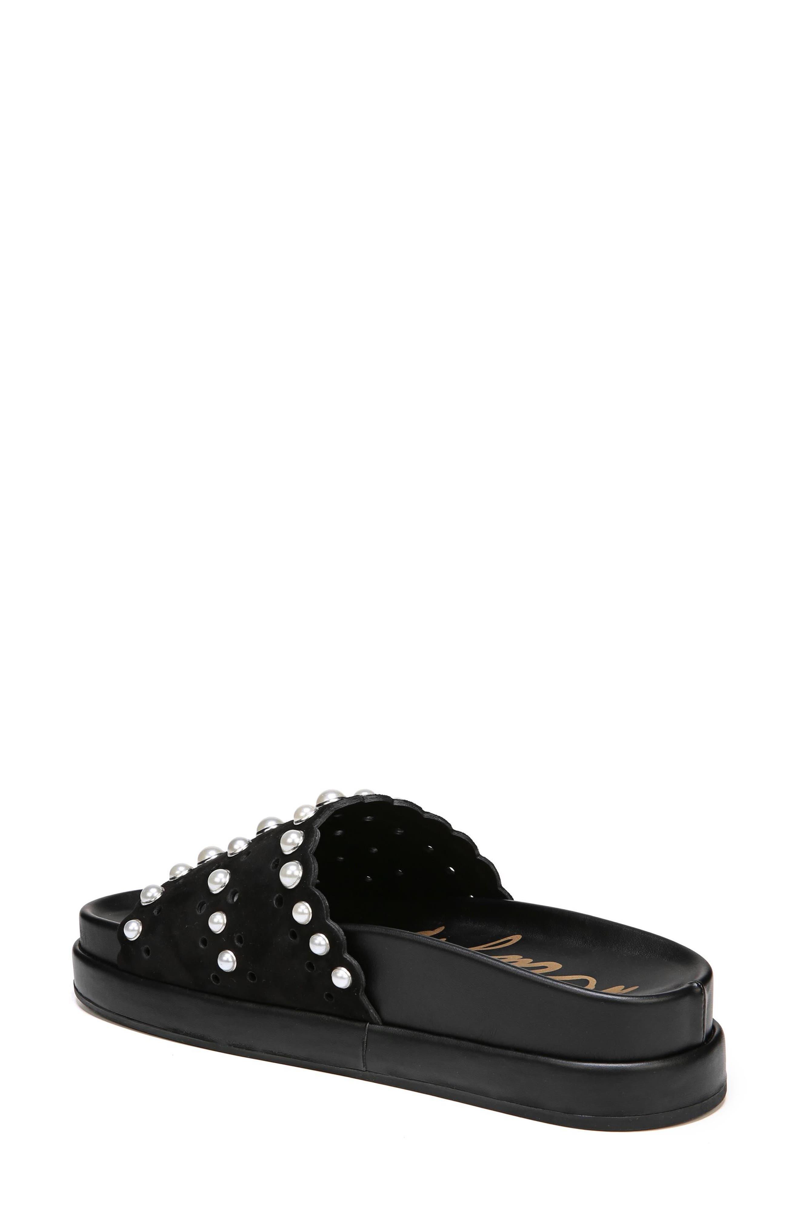 Sera Slide Sandal,                             Alternate thumbnail 2, color,                             BLACK SUEDE