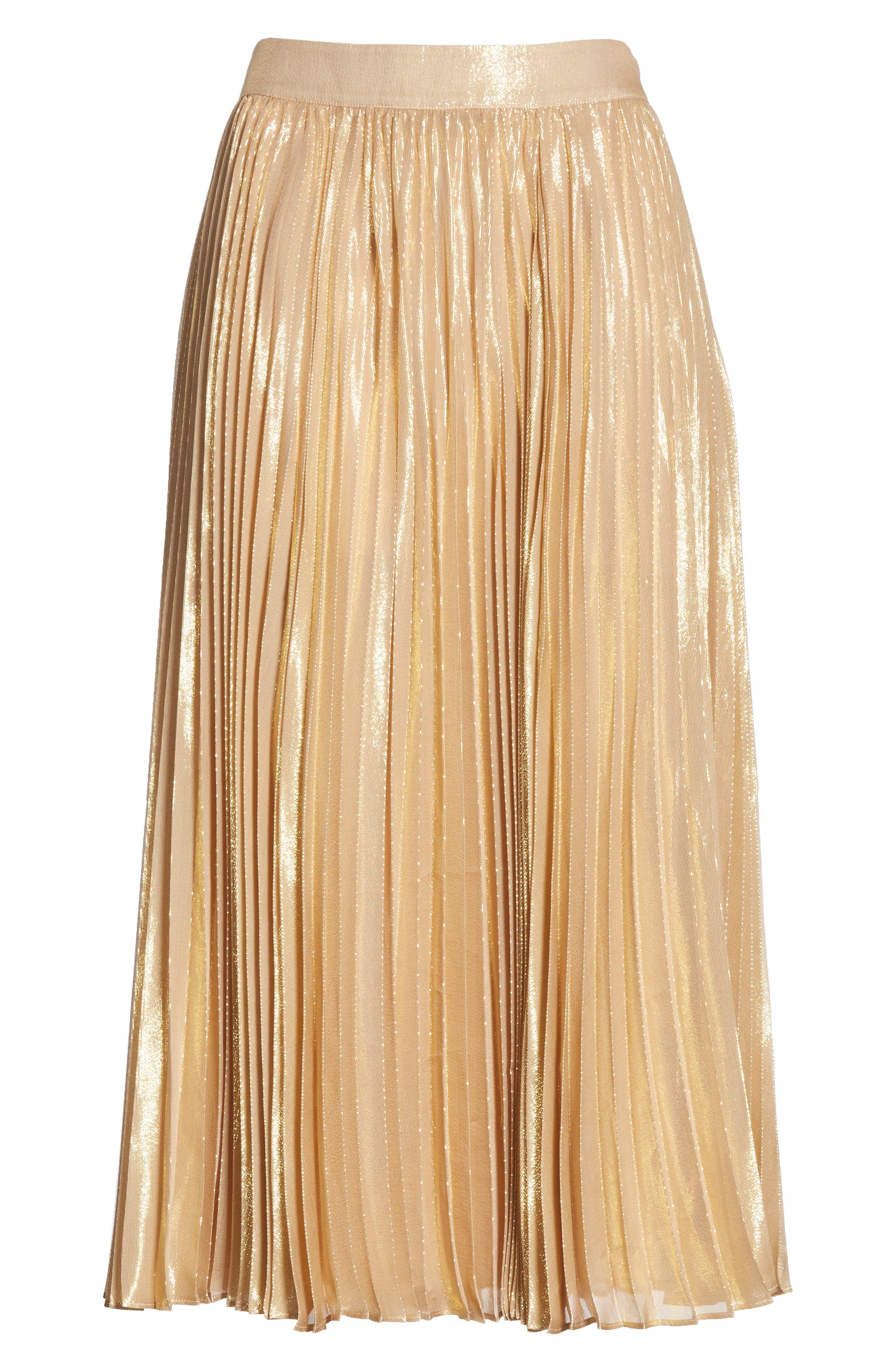 pleat metallic pleat midi skirt,                             Alternate thumbnail 6, color,                             ROASTED PEANUT