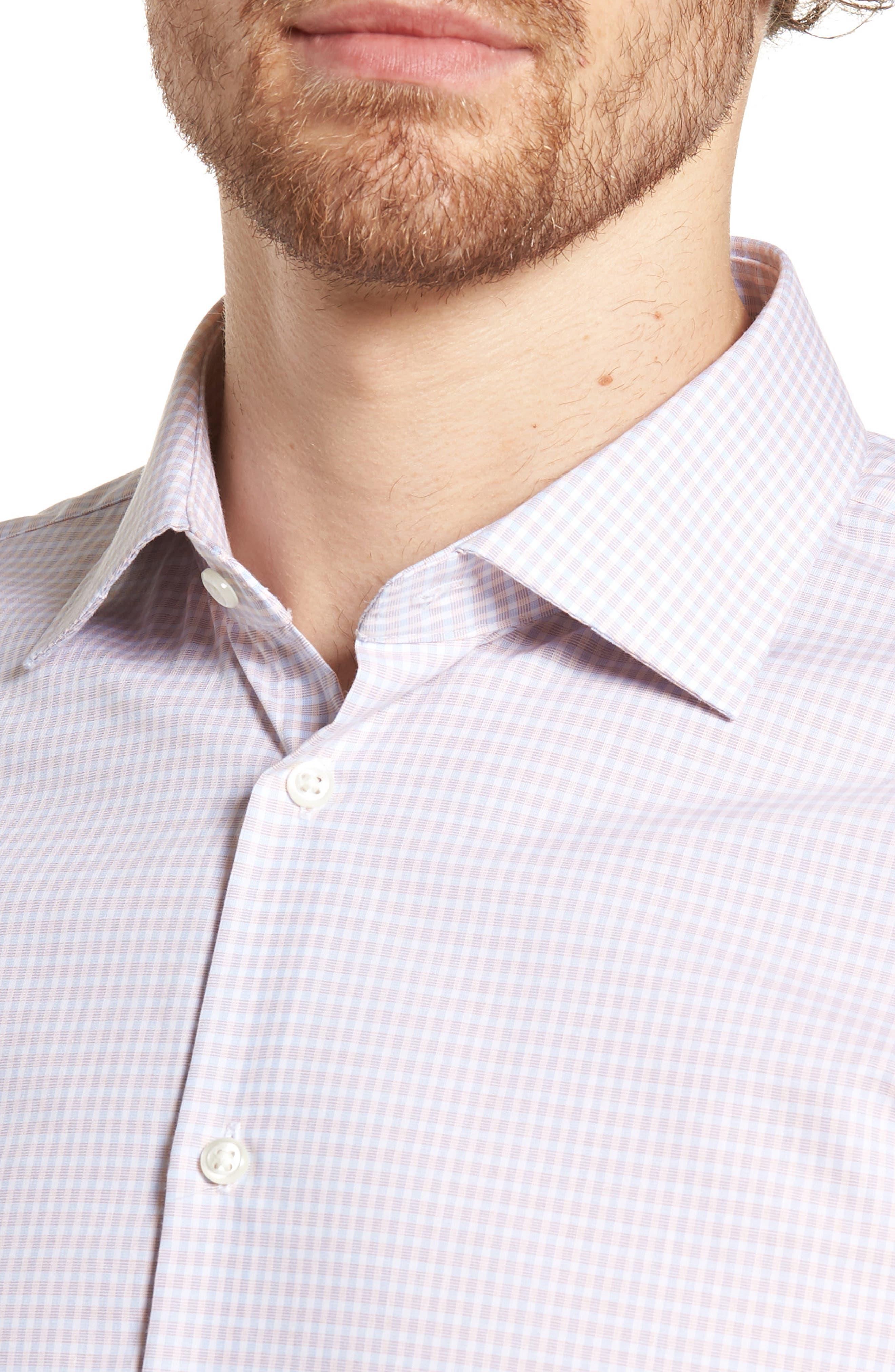 Extra Trim Fit Non-Iron Check Dress Shirt,                             Alternate thumbnail 6, color,