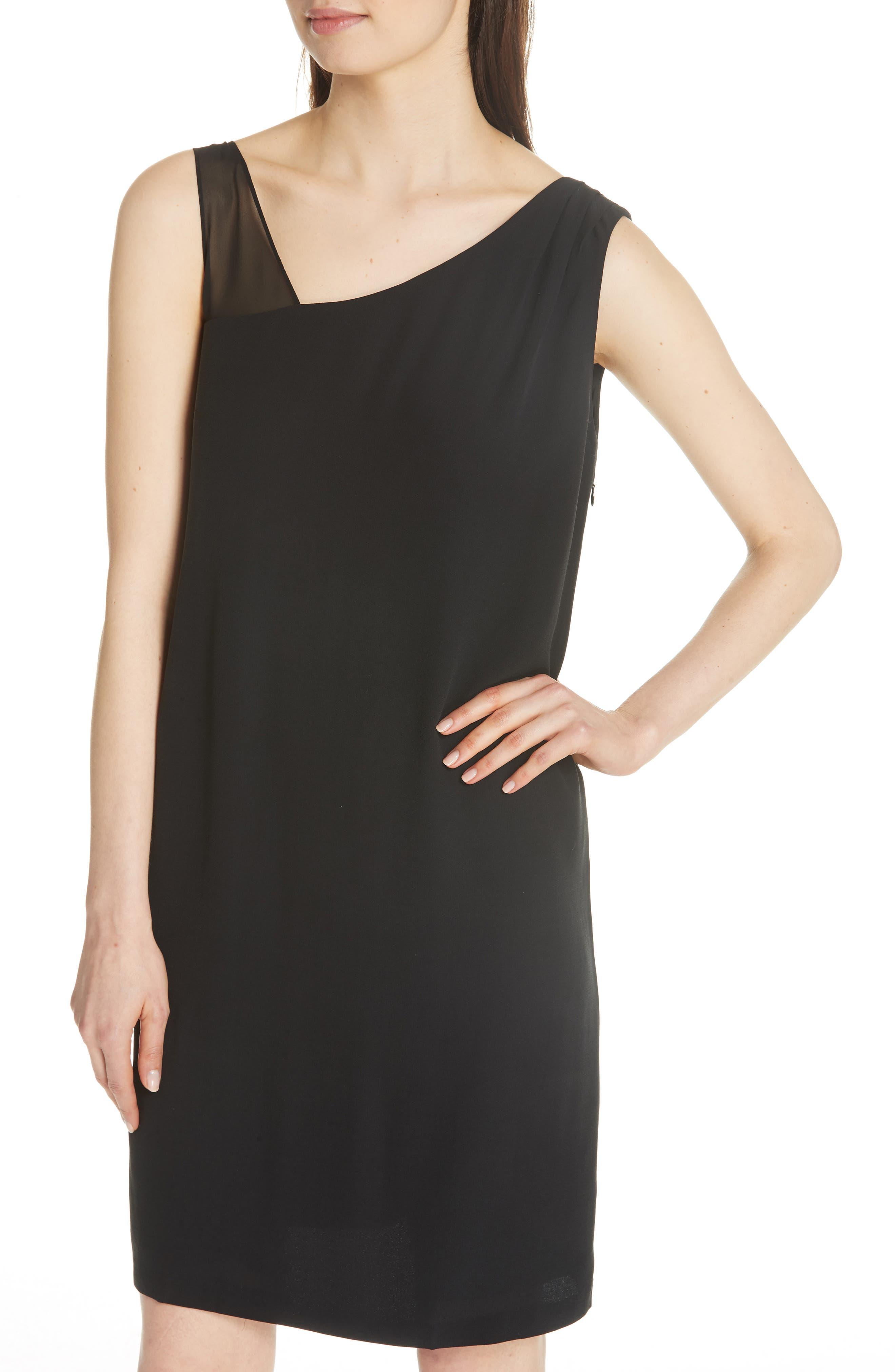 Sheer Strap Silk Shift Dress,                             Alternate thumbnail 4, color,                             001