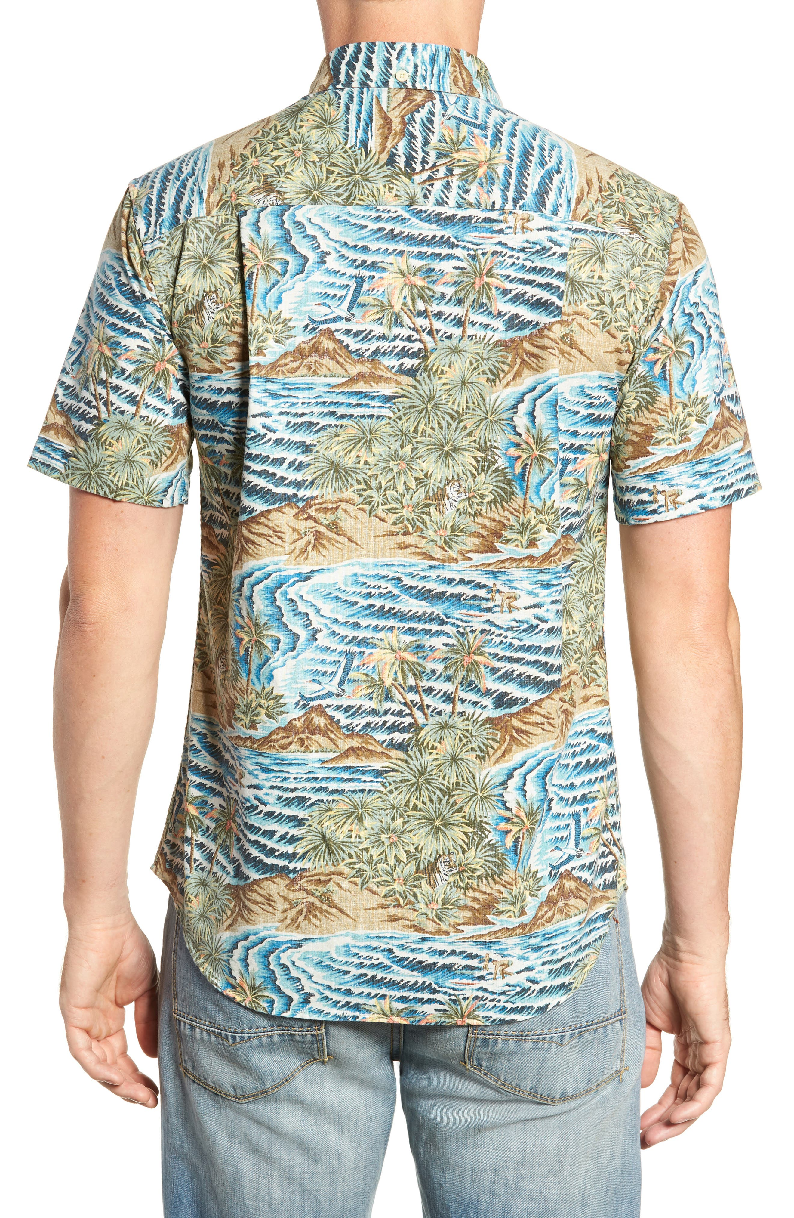 Sumatra Slide Tailored Fit Sport Shirt,                             Alternate thumbnail 3, color,                             430