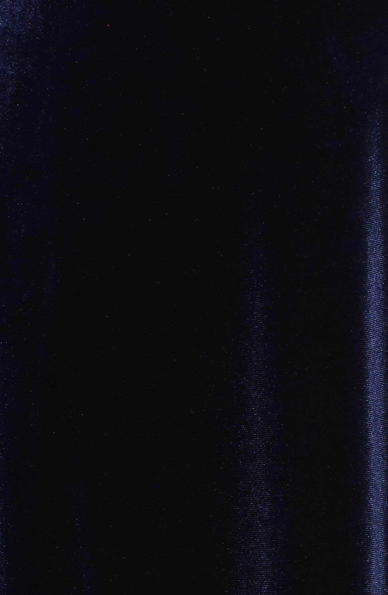 Velvet Faux Wrap Midi Dress,                             Alternate thumbnail 6, color,                             NAVY