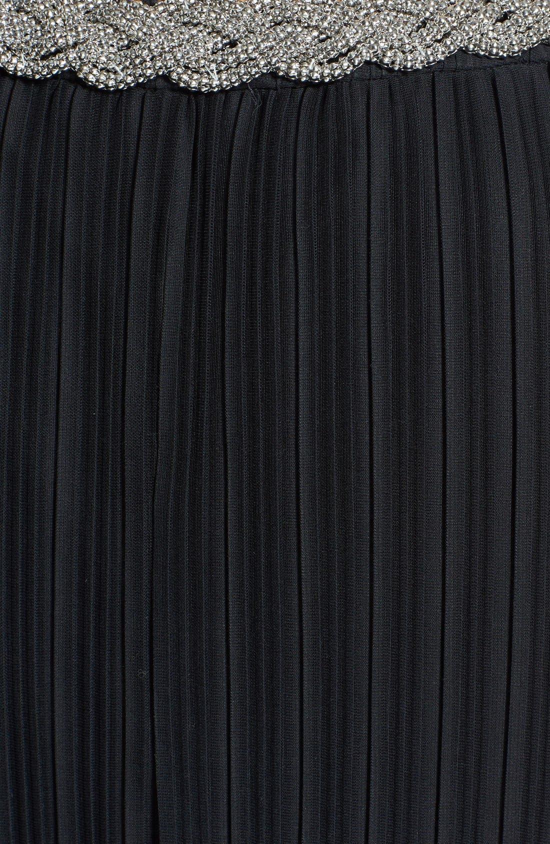 Embellished Neck Chiffon Shift Dress,                             Alternate thumbnail 3, color,                             001