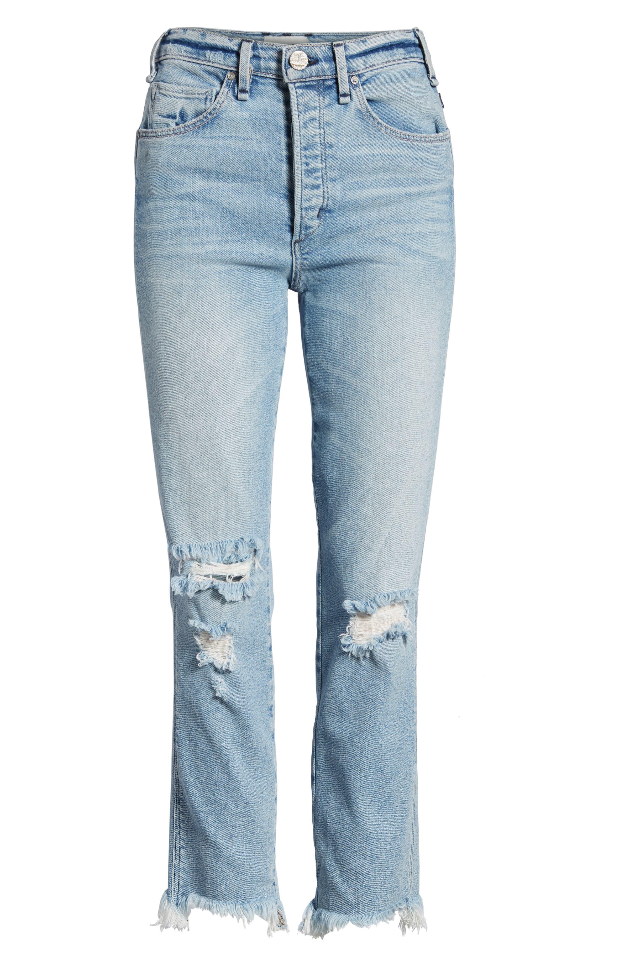 Valetta High Waist Crop Straight Leg Jeans,                             Alternate thumbnail 7, color,                             450