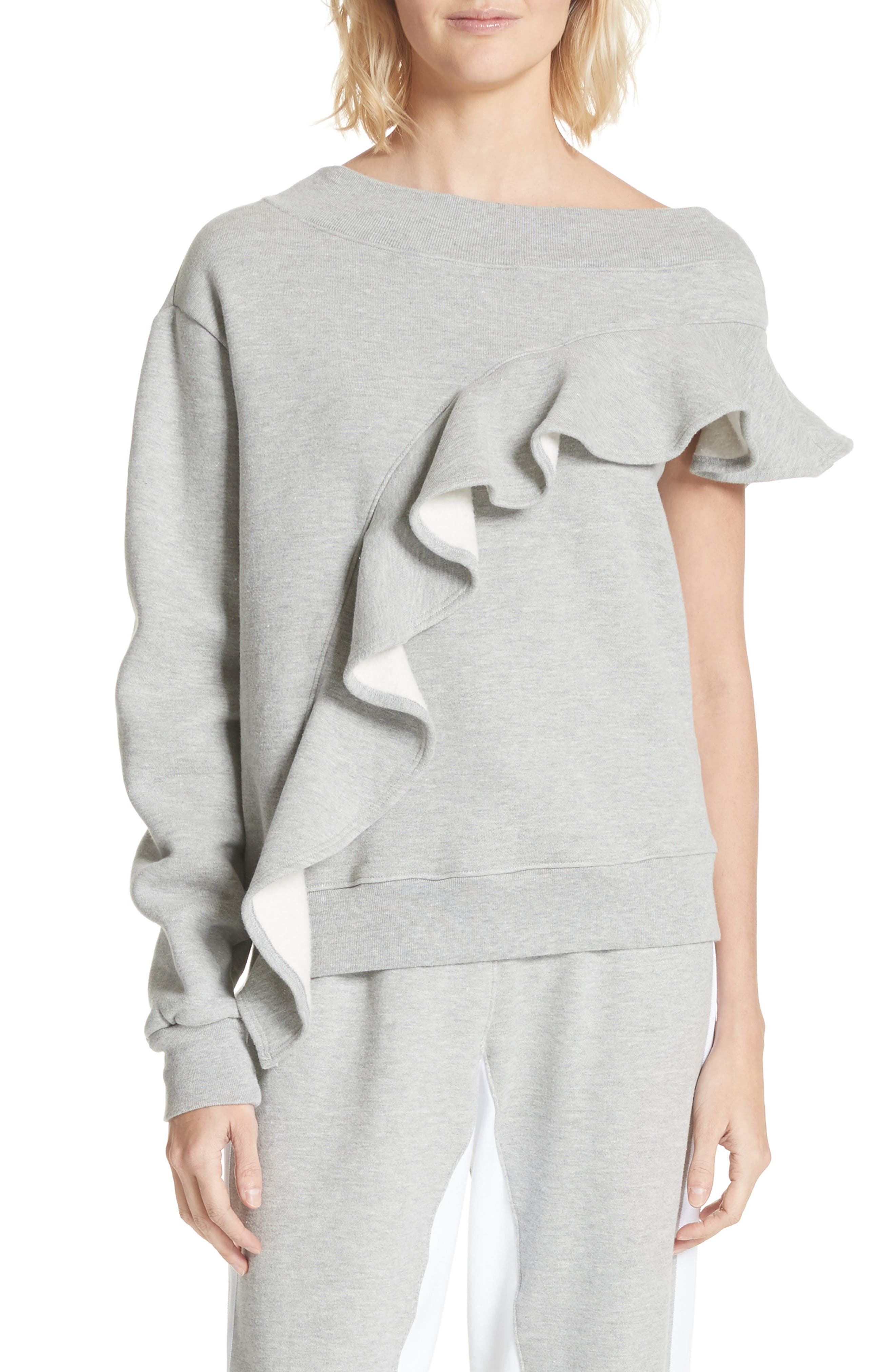 Asymmetrical Ruffle Sweatshirt,                             Main thumbnail 1, color,