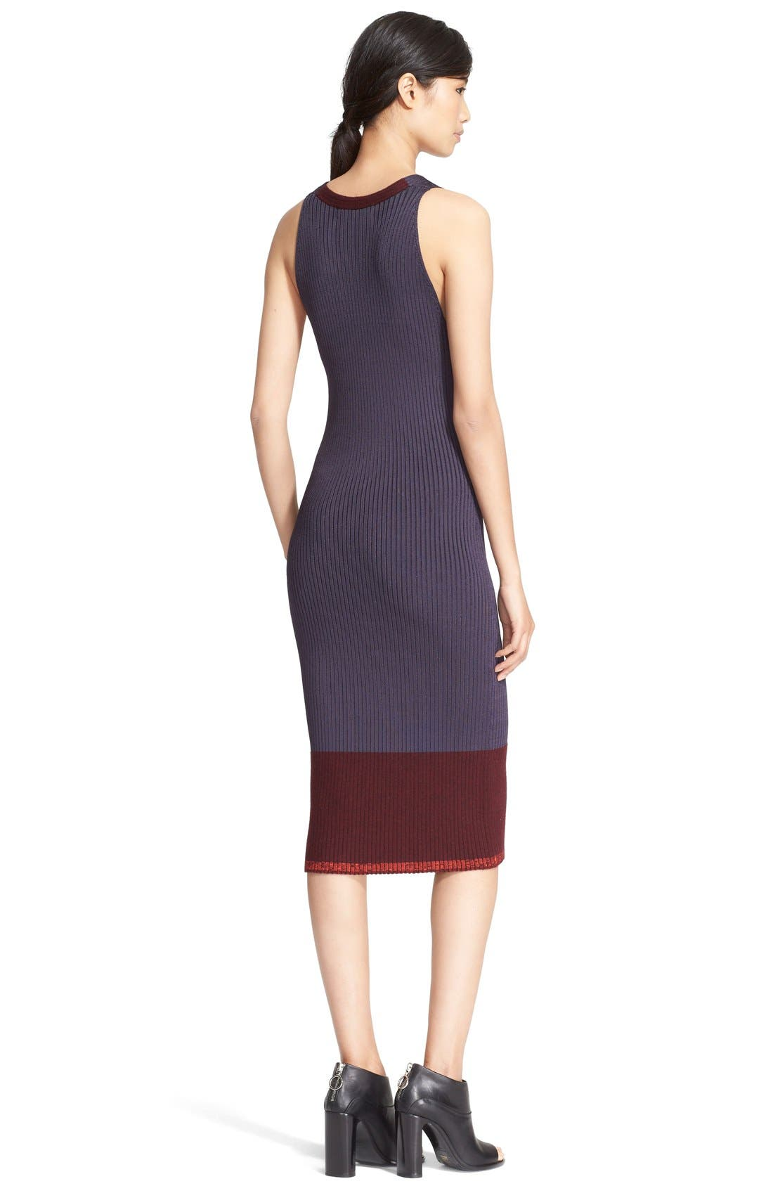 'Kristin' Colorblock Rib Knit Midi Dress,                             Alternate thumbnail 2, color,                             020