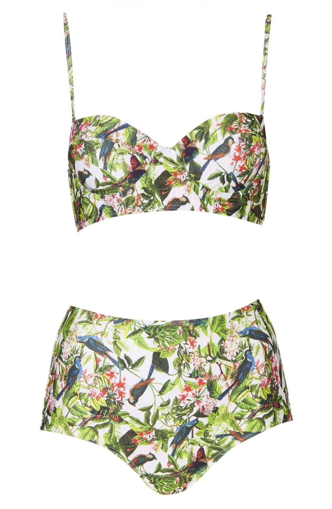 Leaf Print High Rise Bikini,                             Main thumbnail 1, color,                             100