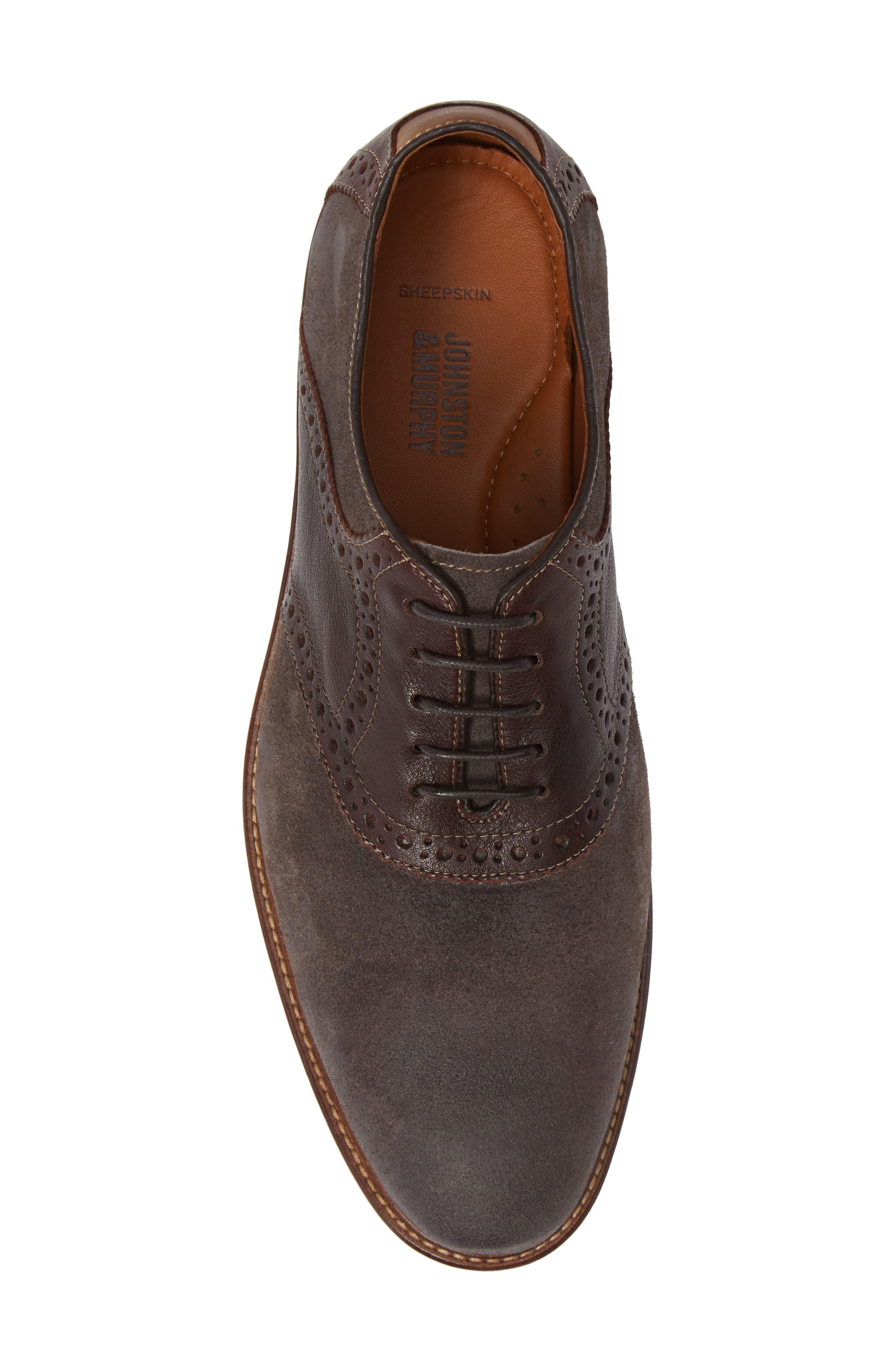 Warner Saddle Shoe,                             Alternate thumbnail 5, color,                             DARK GREY SUEDE