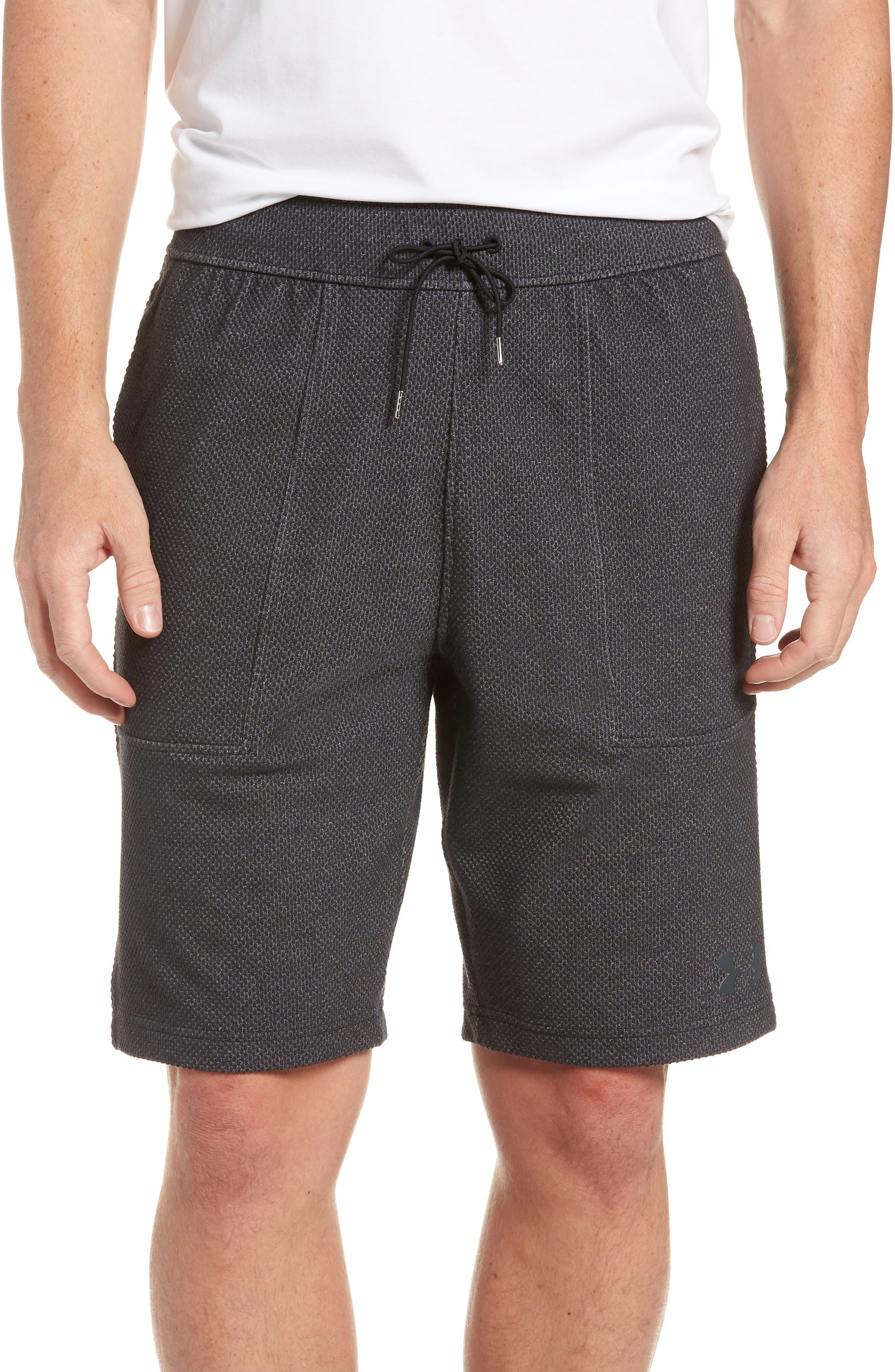 Pursuit Fleece Trim Fit Shorts,                             Main thumbnail 1, color,                             BLACK/ BLACK/ STEALTH GRAY