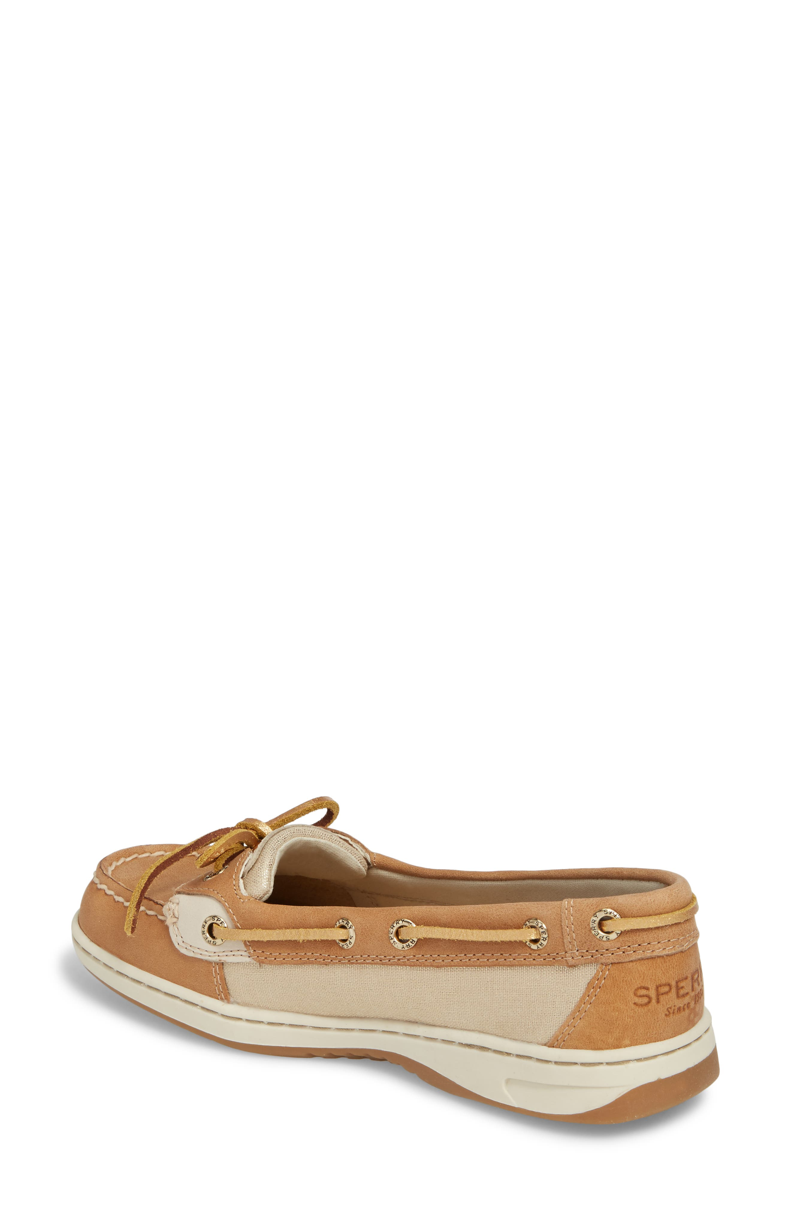 'Angelfish' Boat Shoe,                             Alternate thumbnail 3, color,                             LINEN METALLIC LEATHER