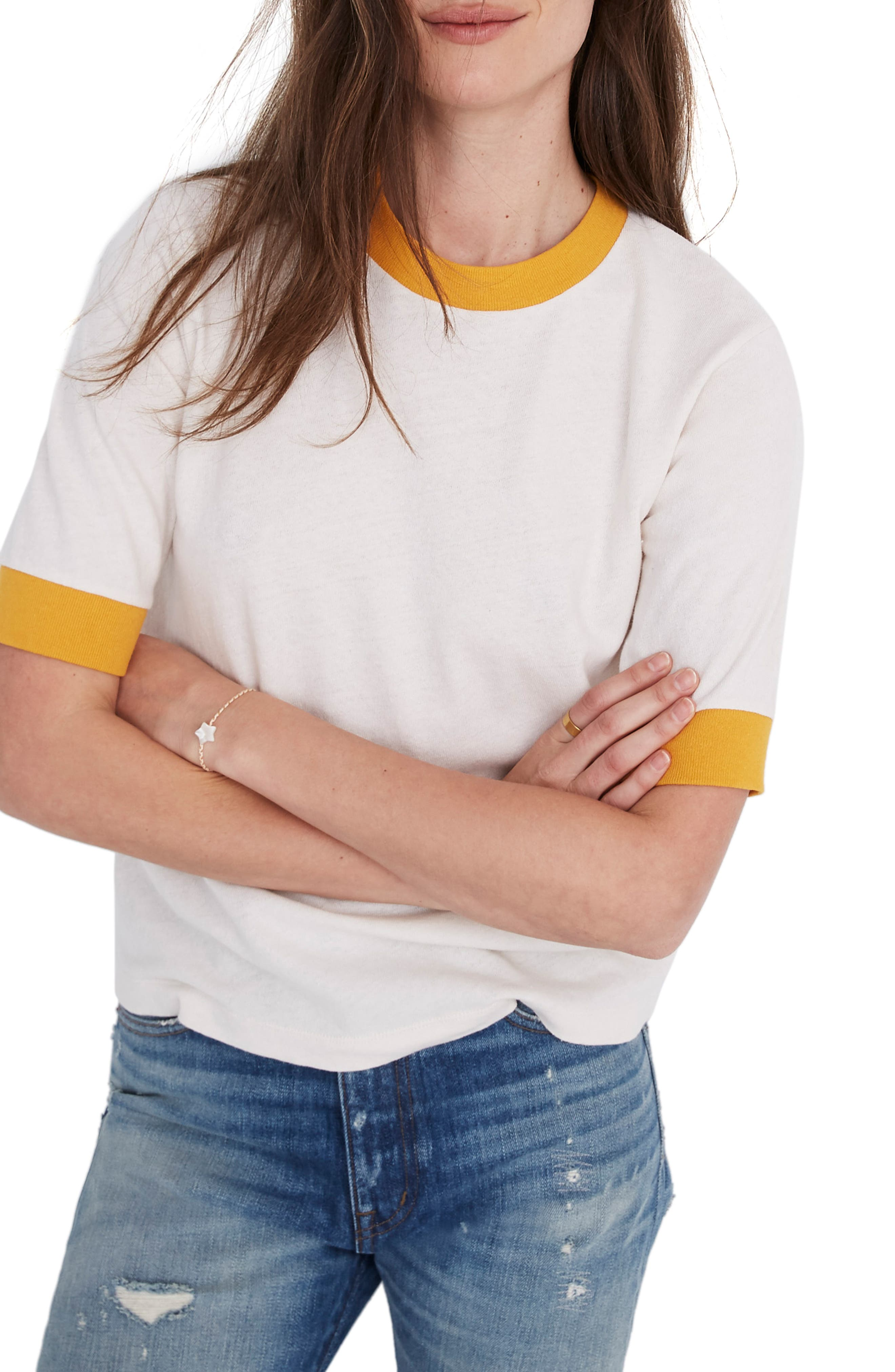 Madewell Relaxed Ringer Tee, Ivory