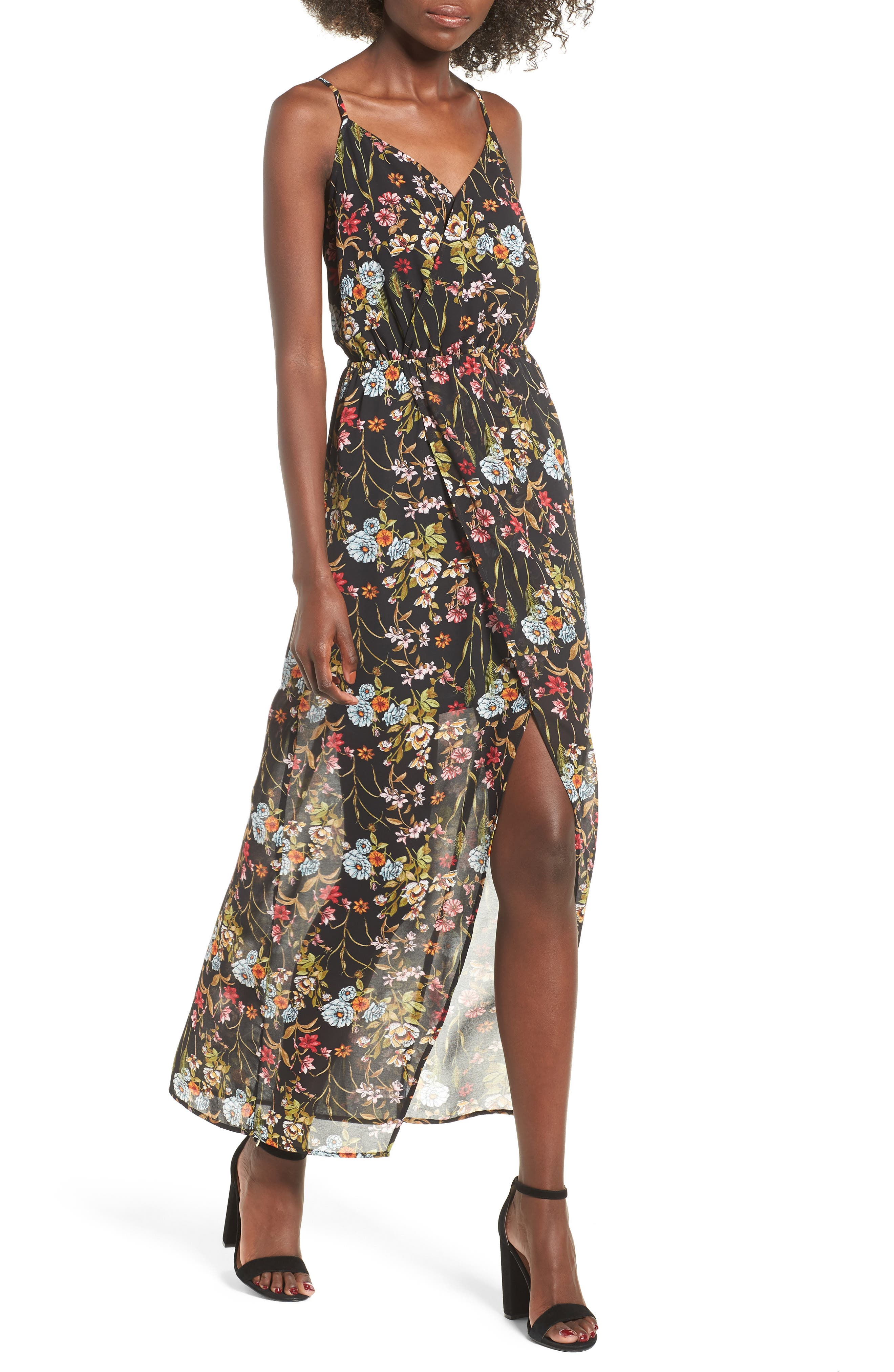 Surplice High/Low Maxi Dress,                             Main thumbnail 1, color,