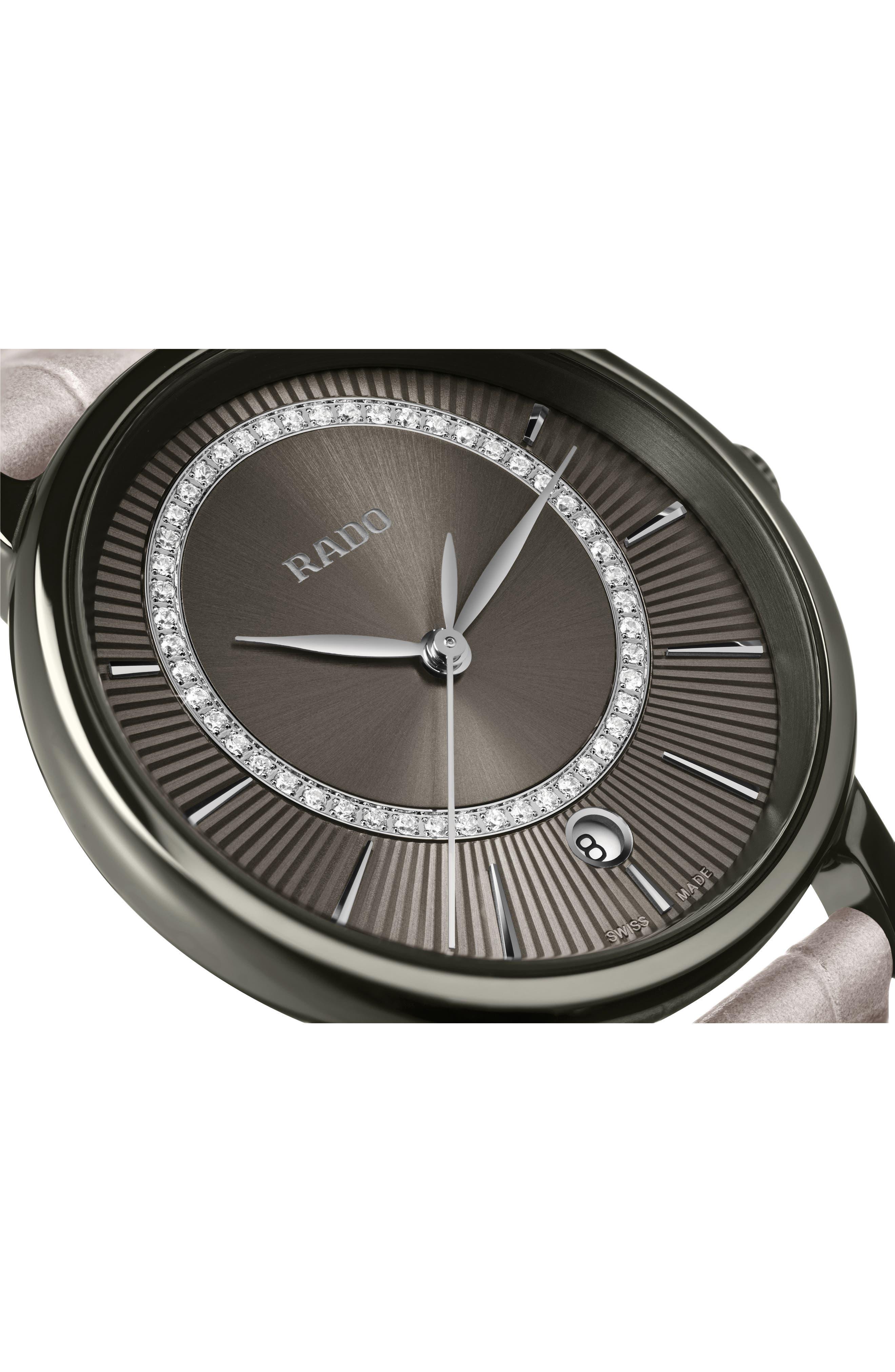 DiaMaster Diamond Leather Strap Watch, 33mm,                             Alternate thumbnail 2, color,                             GREY/ TITANIUM