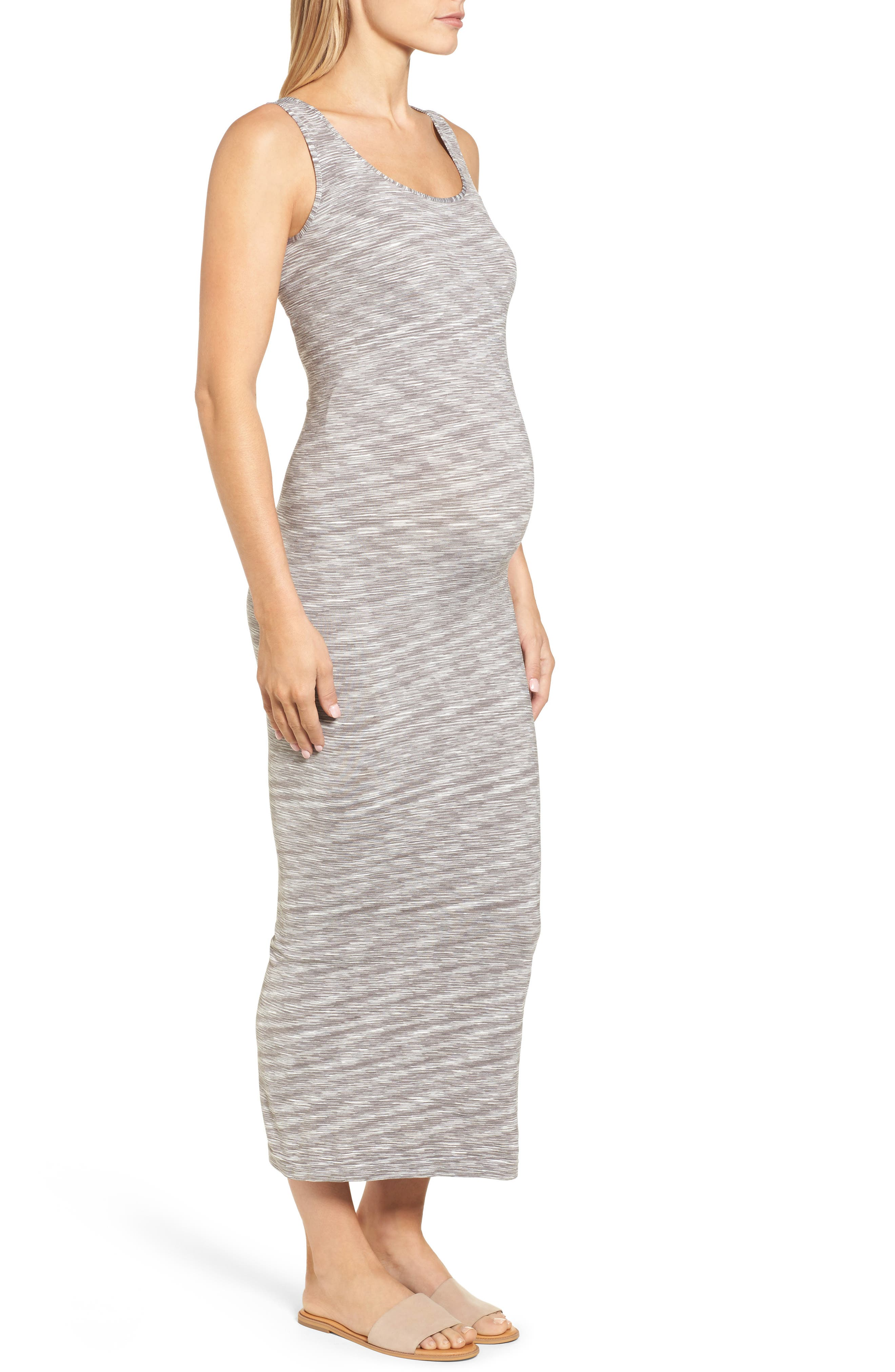 Marled Maxi Maternity Dress,                             Alternate thumbnail 4, color,                             020