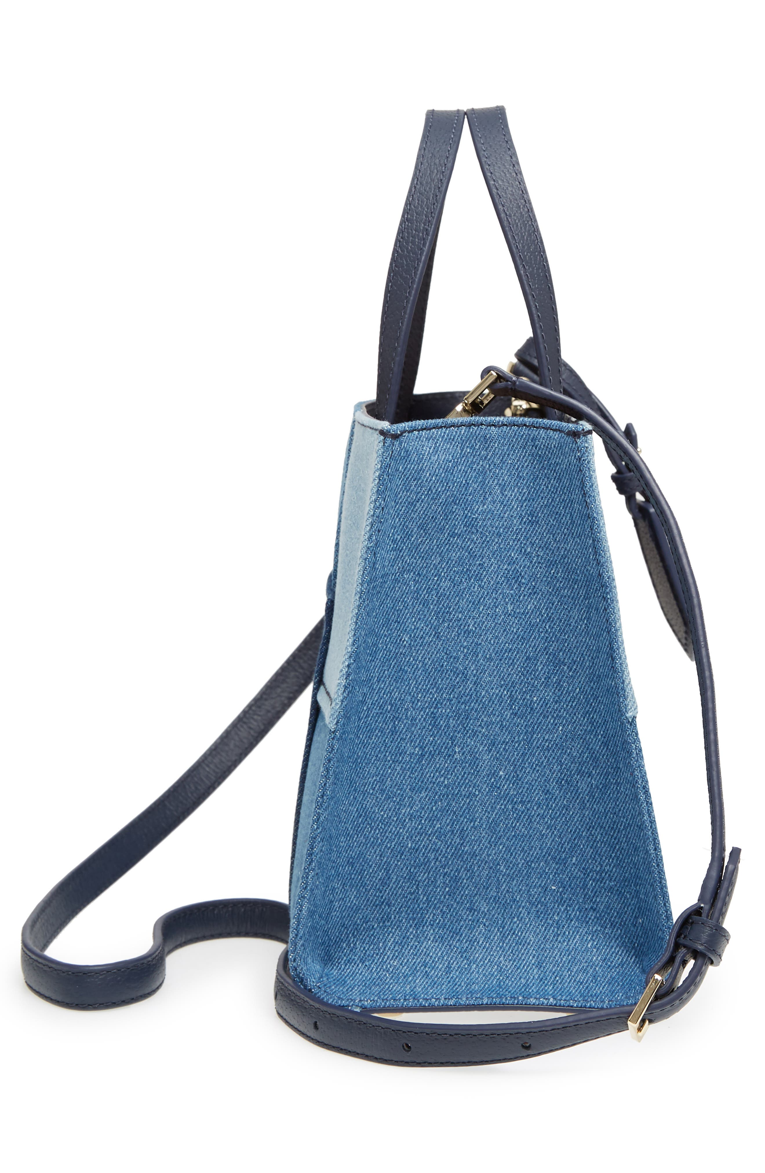 thompson street - sam patchwork denim handbag,                             Alternate thumbnail 5, color,                             400