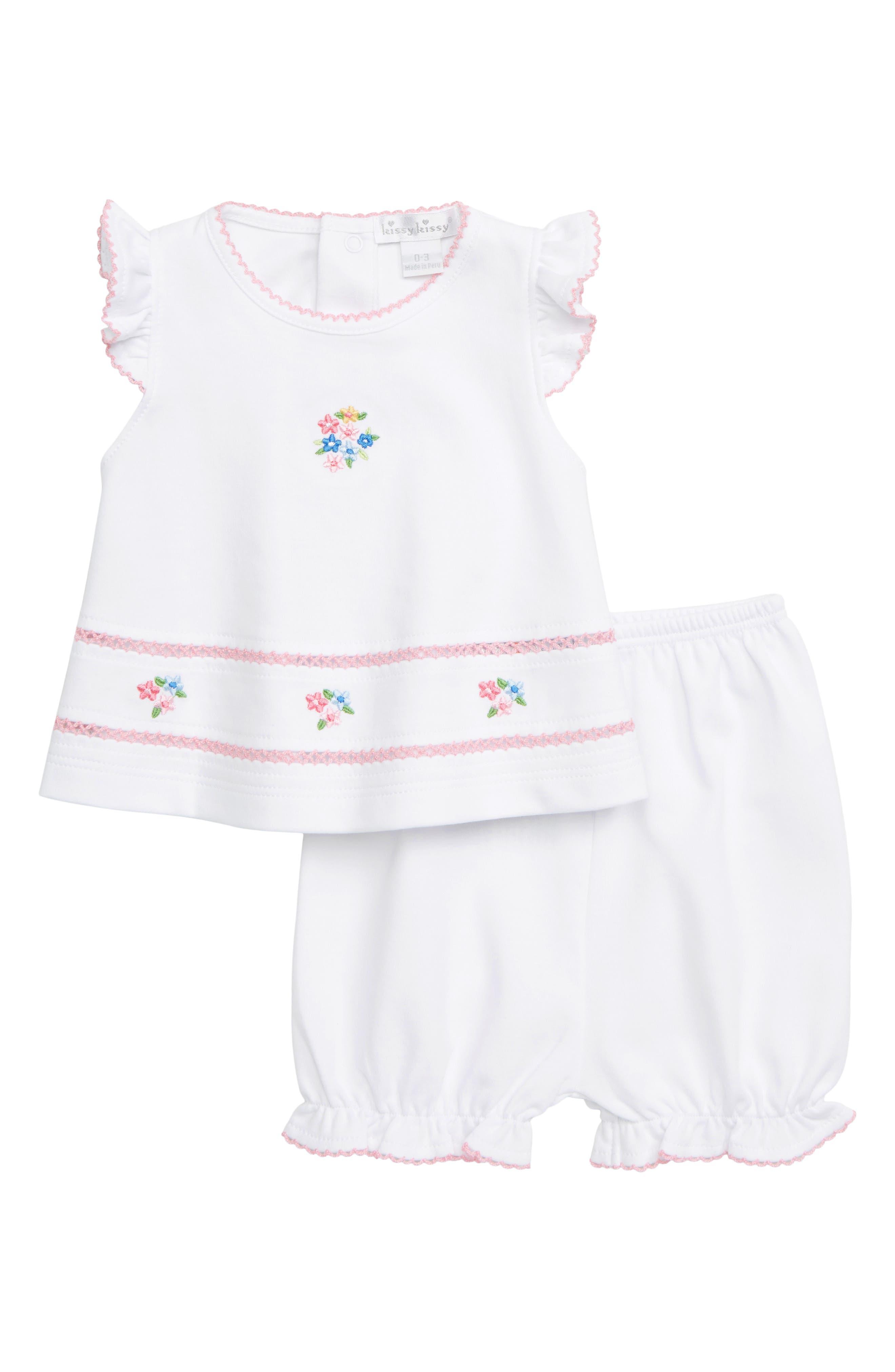 KISSY KISSY,                             Embroidered Shirt & Shorts Set,                             Main thumbnail 1, color,                             WHITE/ PINK
