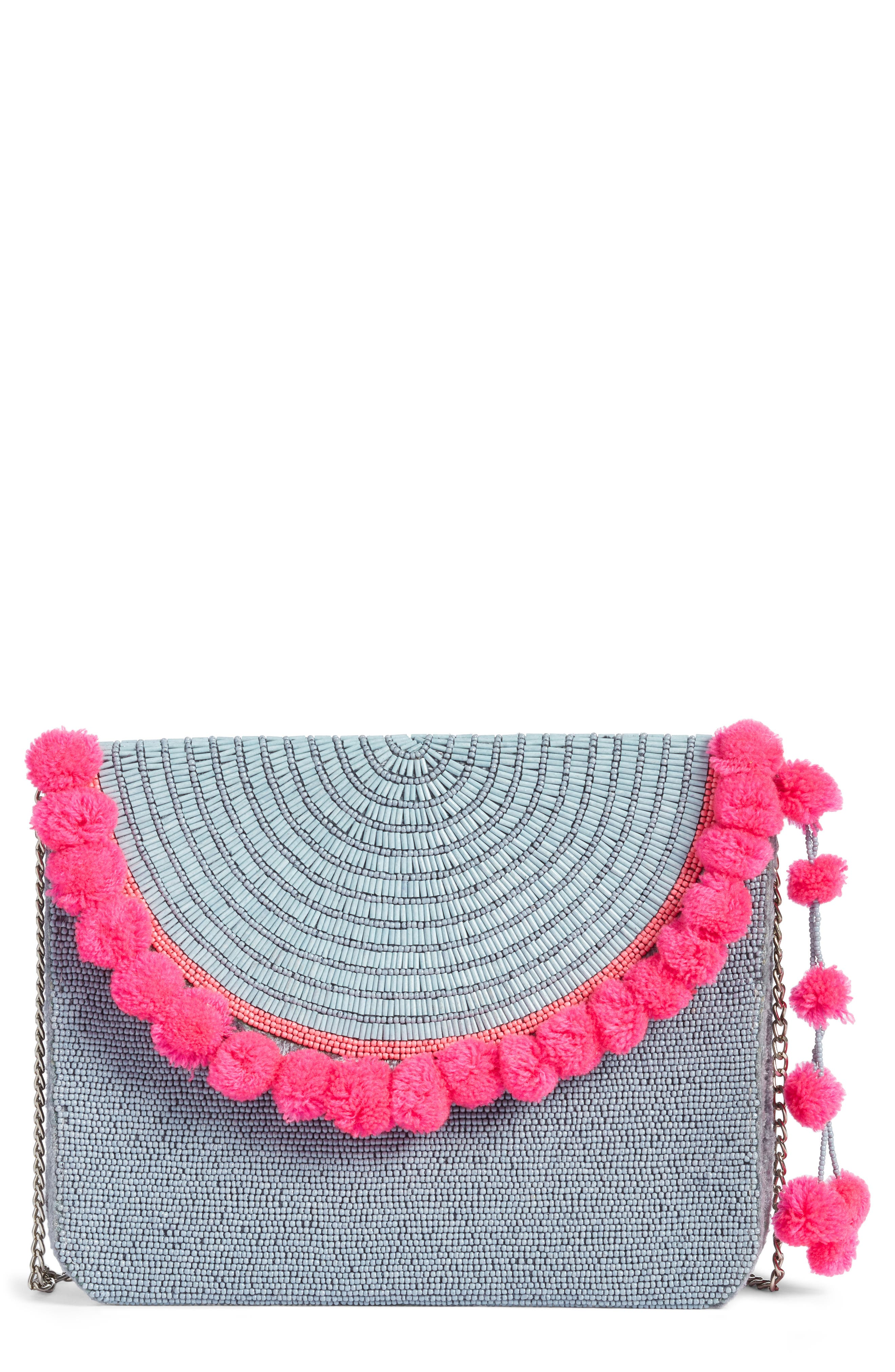 Mariah Beaded Clutch,                             Main thumbnail 1, color,                             BLUE/ PINK
