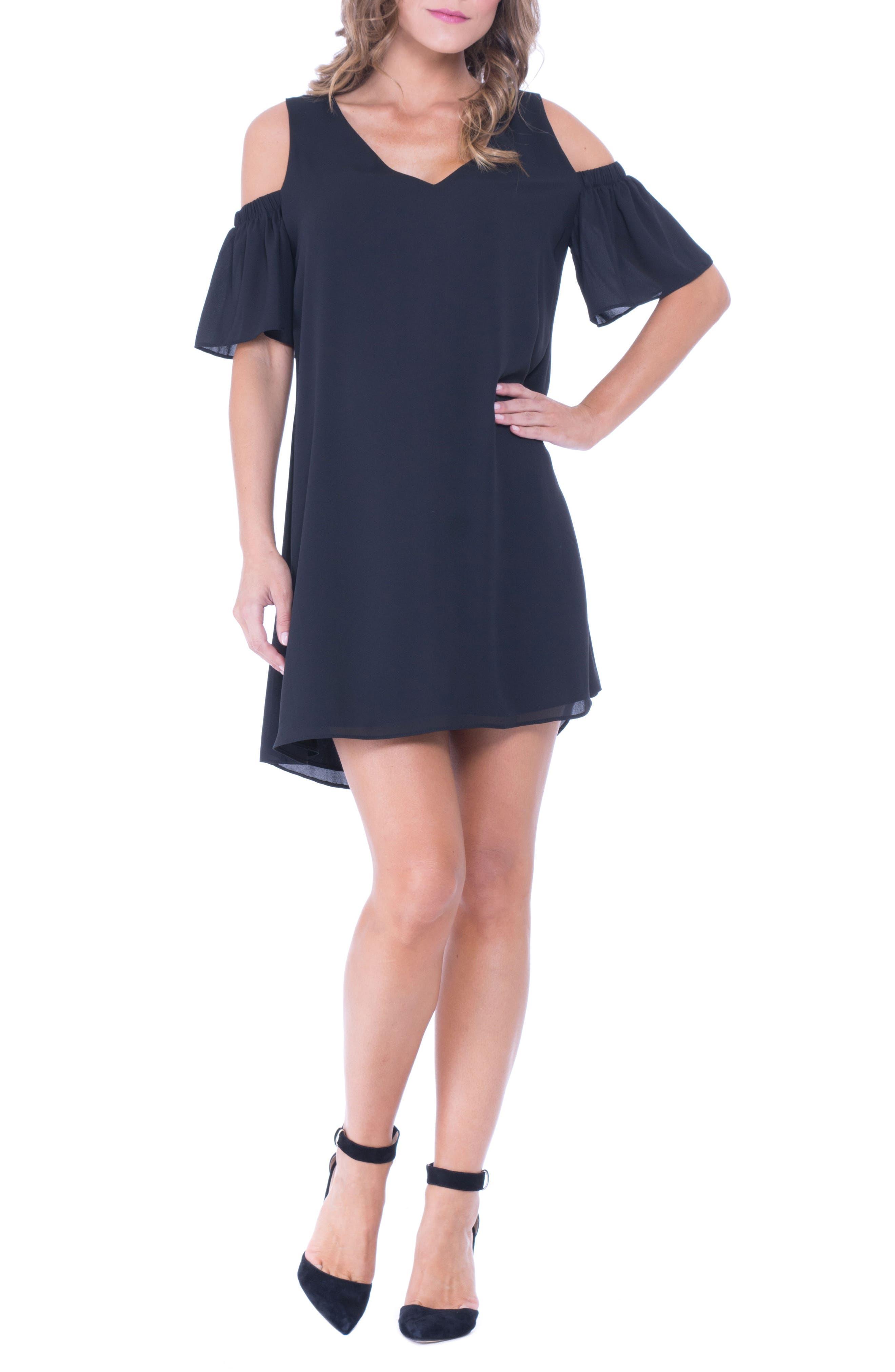 Juliette Cold Shoulder Maternity Dress,                             Alternate thumbnail 4, color,                             BLACK