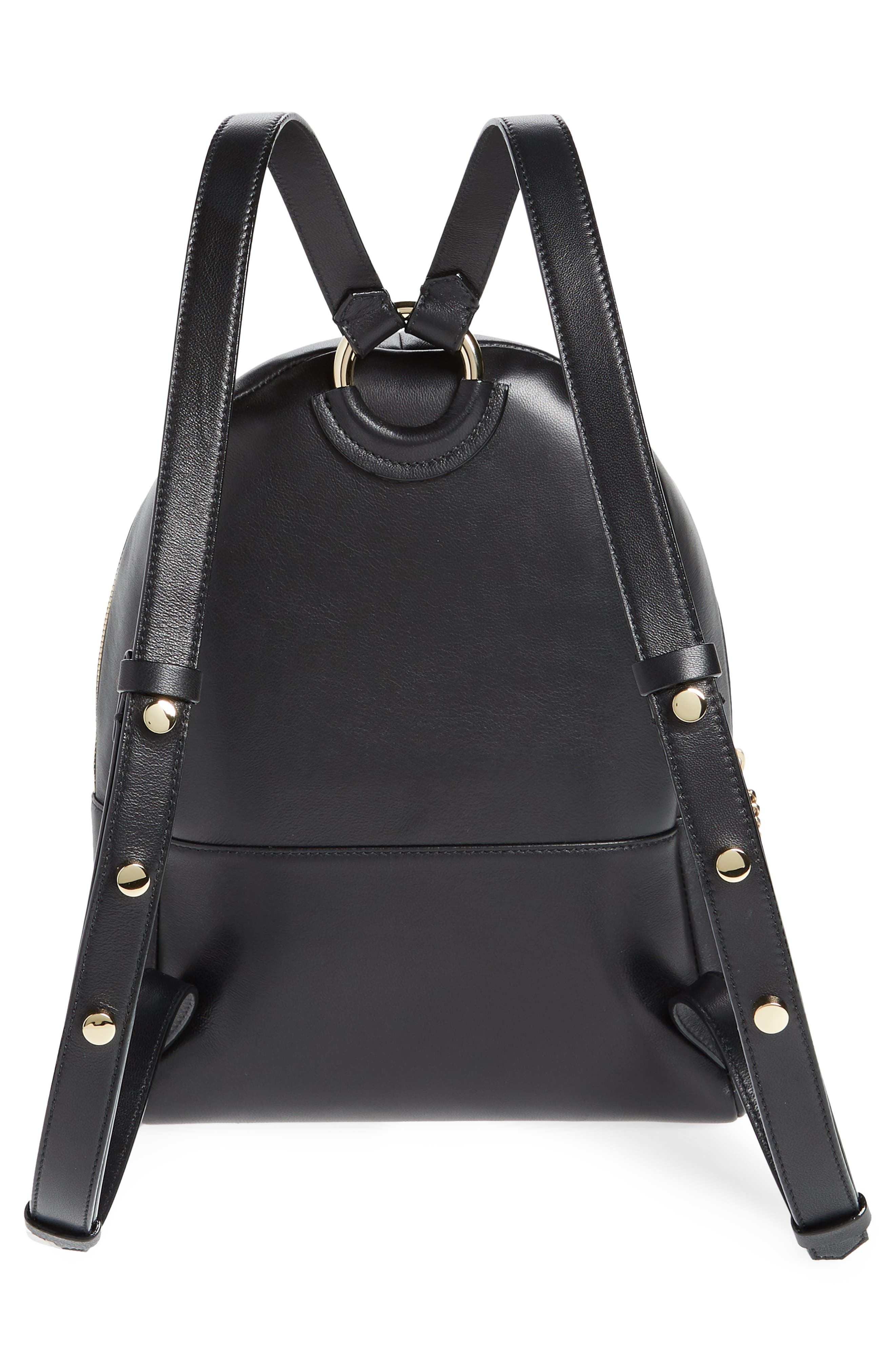 Cassie Star Studded Lambskin Leather Backpack,                             Alternate thumbnail 3, color,                             BLACK